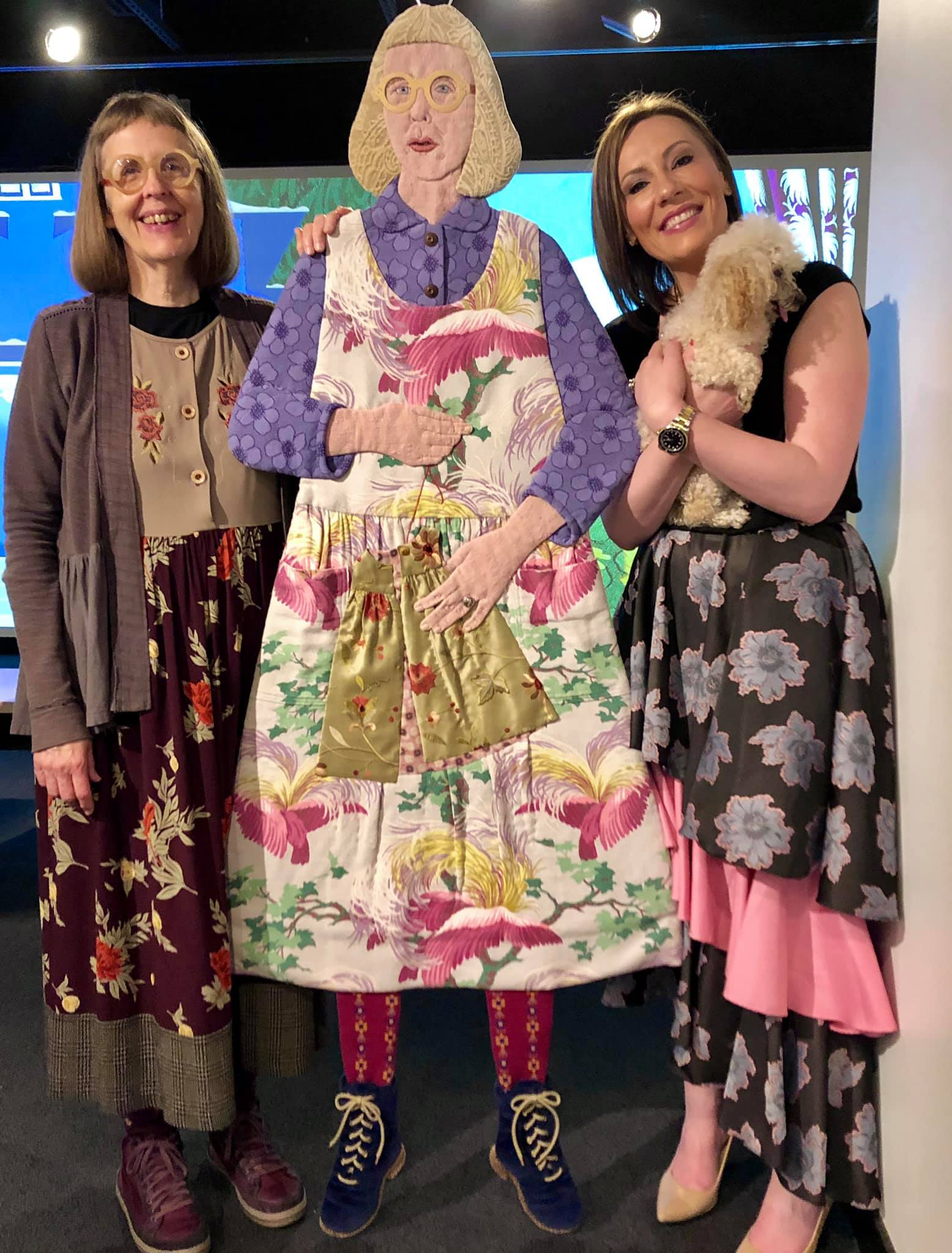 Artist Shelley Thornton, Rachel Hoffman, and Murray visiting Shelley's Solo Exhibition at the Robert Hillestad Textiles Gallery in Lincoln, Nebraska