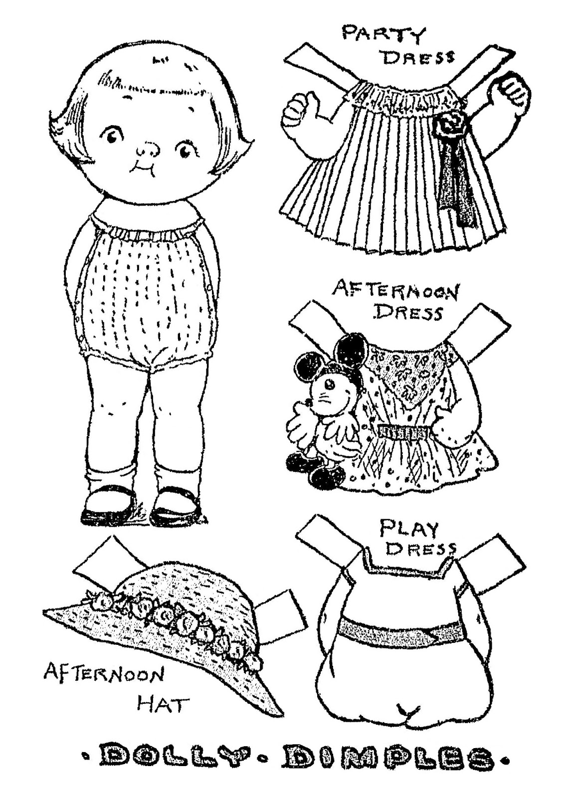 """February 05, 1933, Dolly Dimples paper doll from the Sunday comic strip """"Dolly Dimples and Bobby Bounce"""" by Grace G. Drayton."""