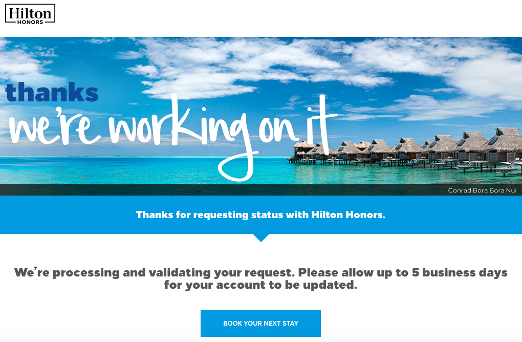 I just matched my Marriott Rewards Platinum Premier Elite status with Hilton Honors