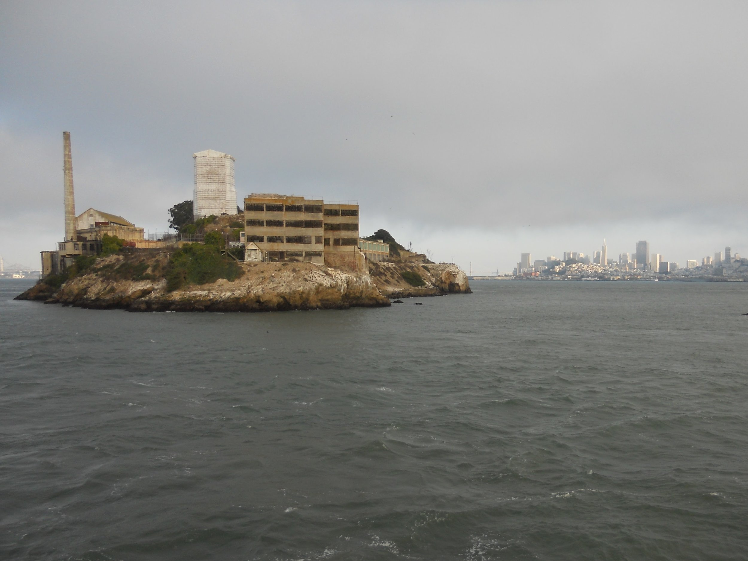 Downtown San Francisco in the distance behind Alcatraz Island