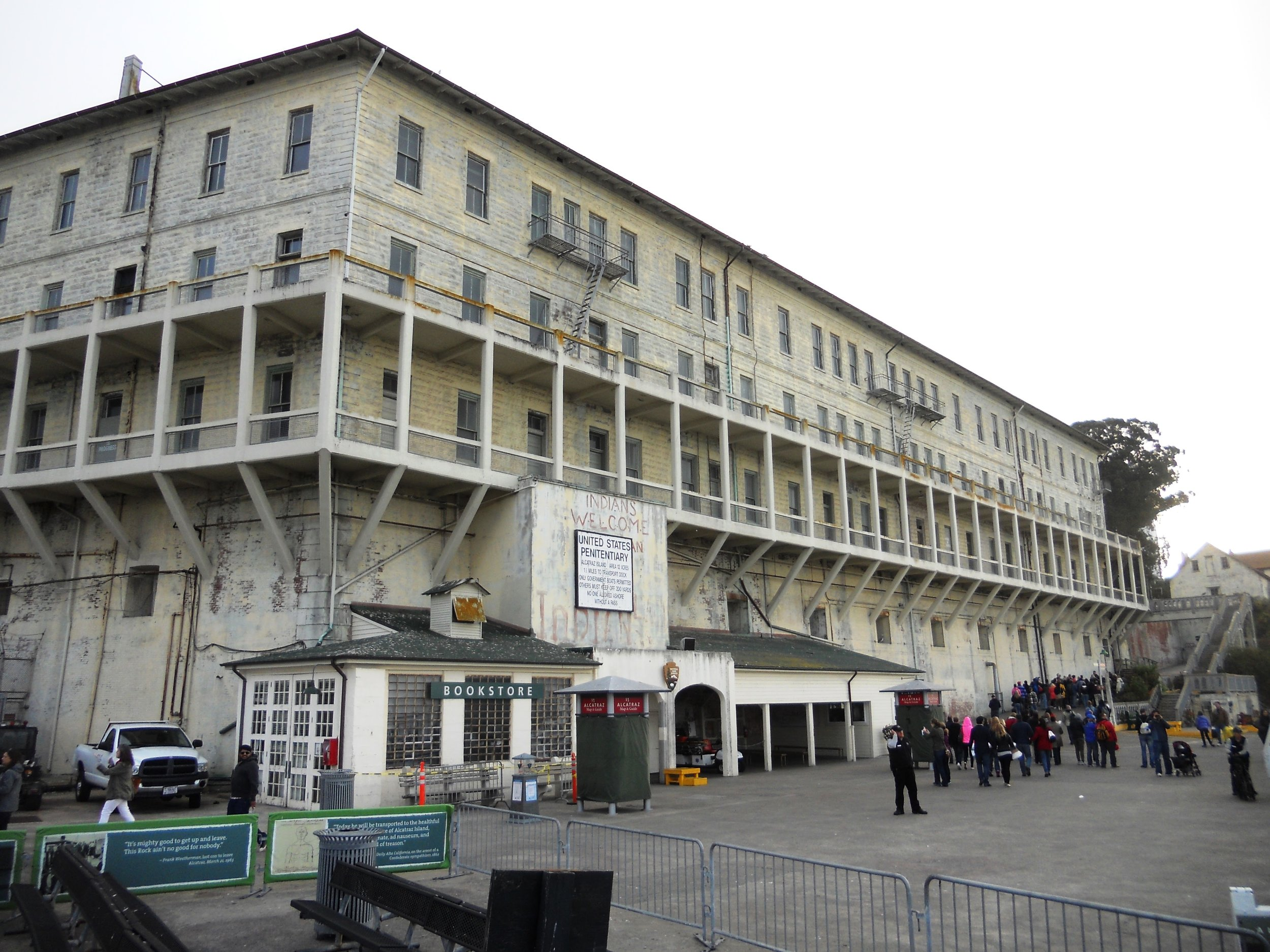 One of the main buildings on Alcatraz as you exit the ferry