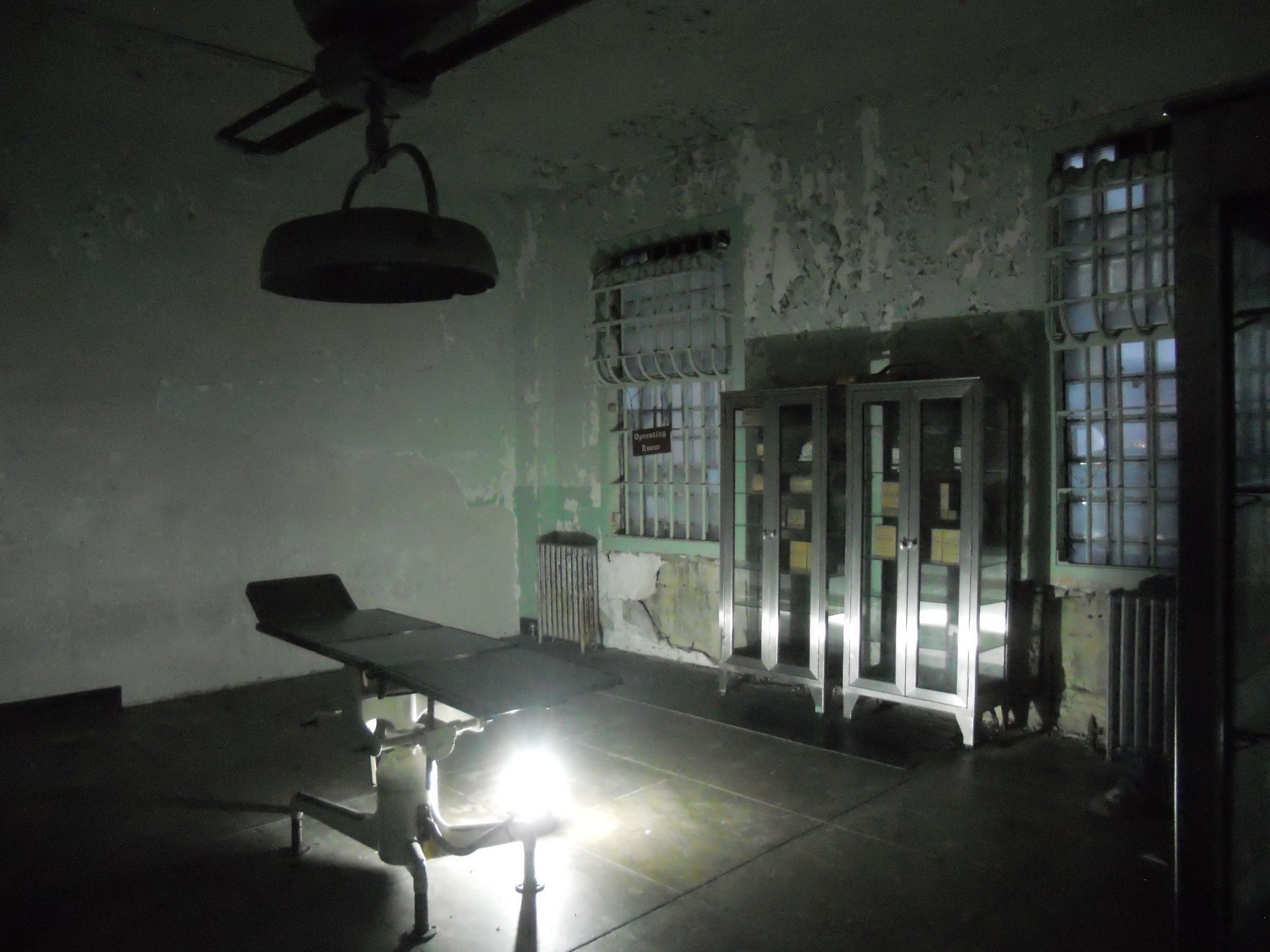A medical operating room during the night tour