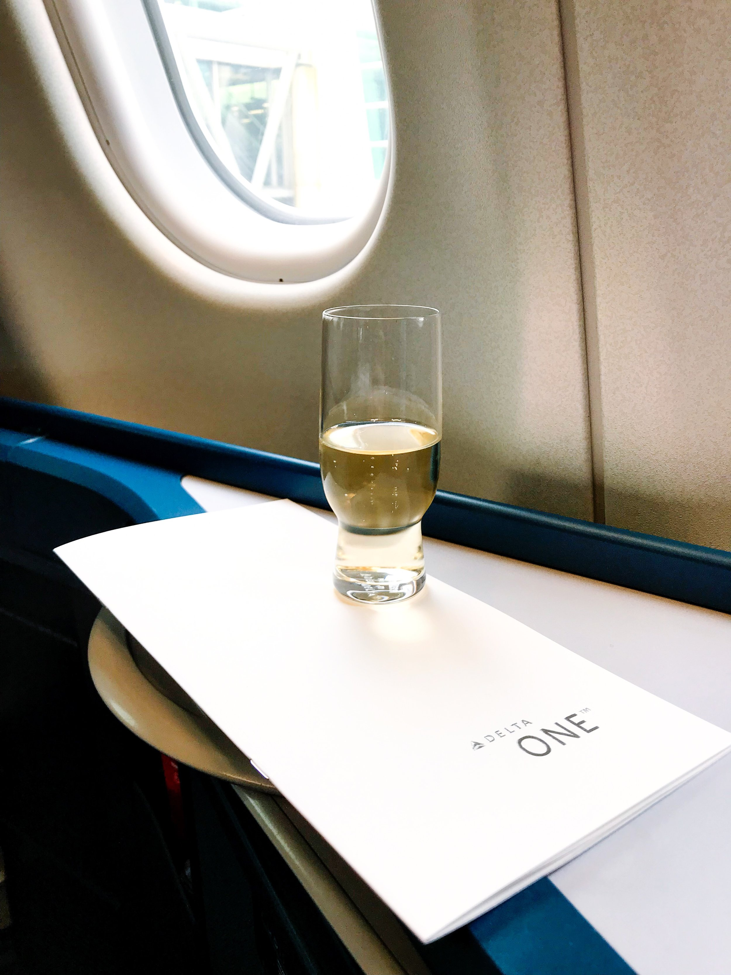 Pre-departure service consisted of champagne or orange juice. Meal requests were taken before departure as well.