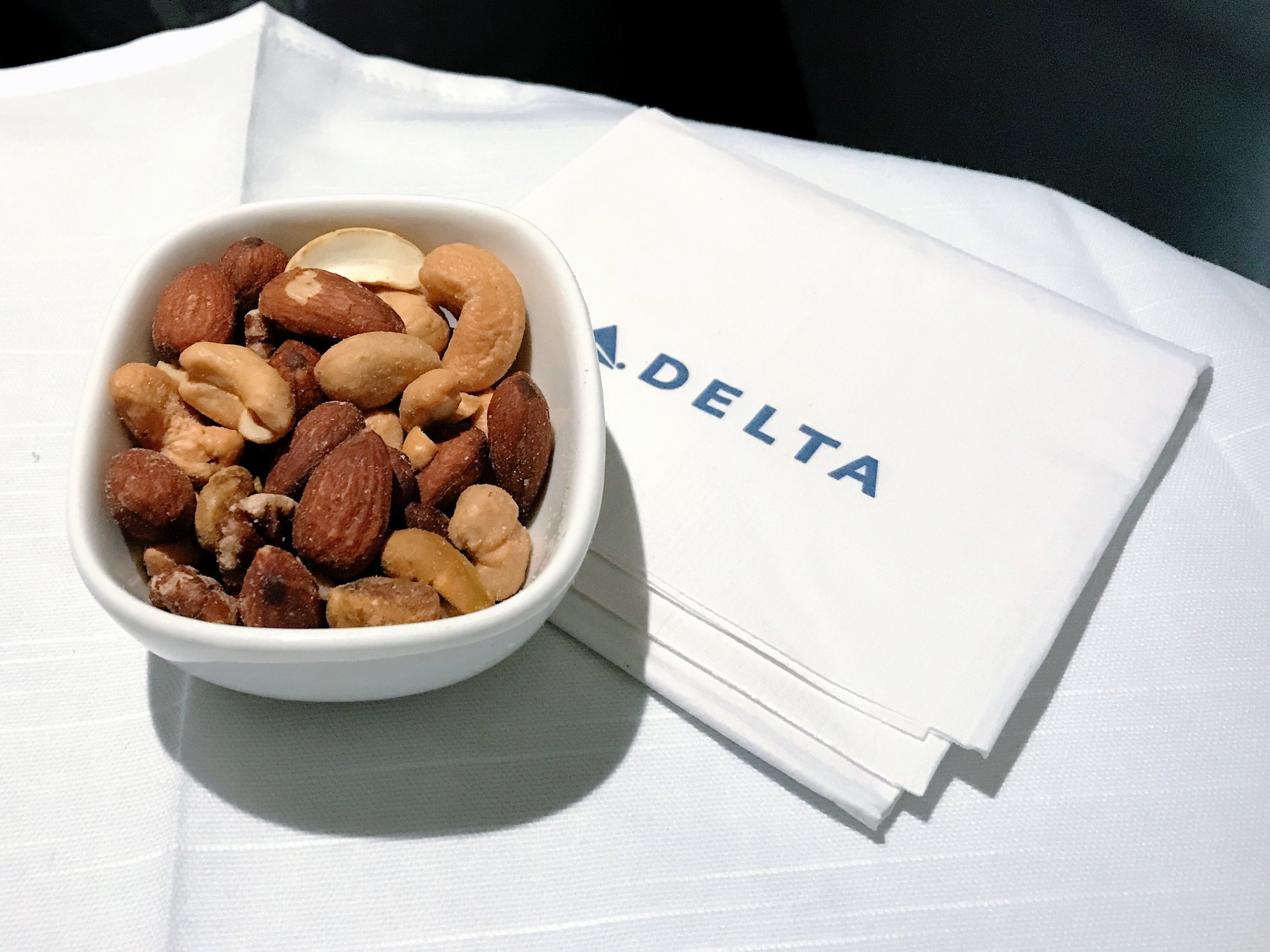 Warm nuts were served before the five-course meal.