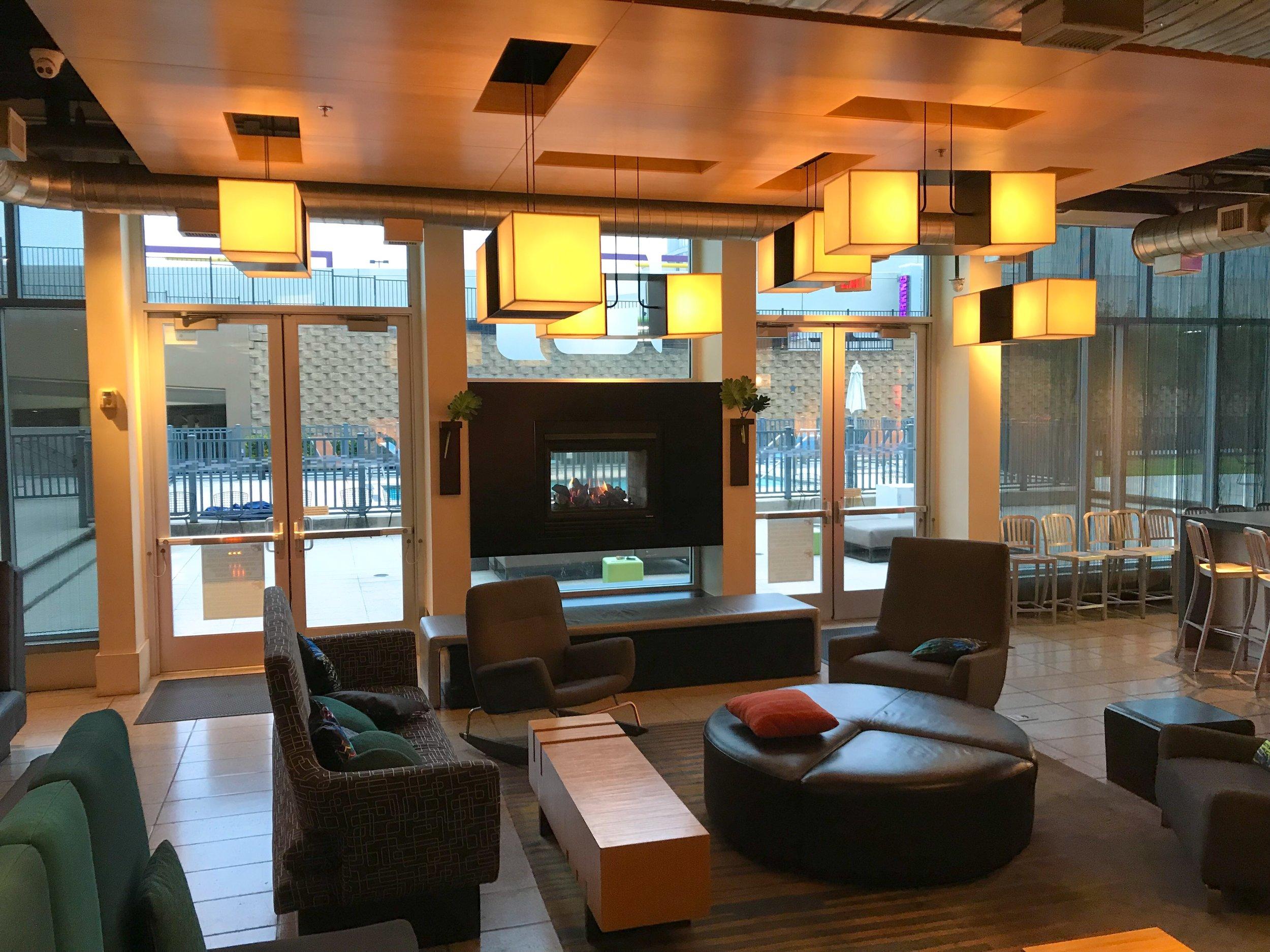 The lobby had a very modern feel.