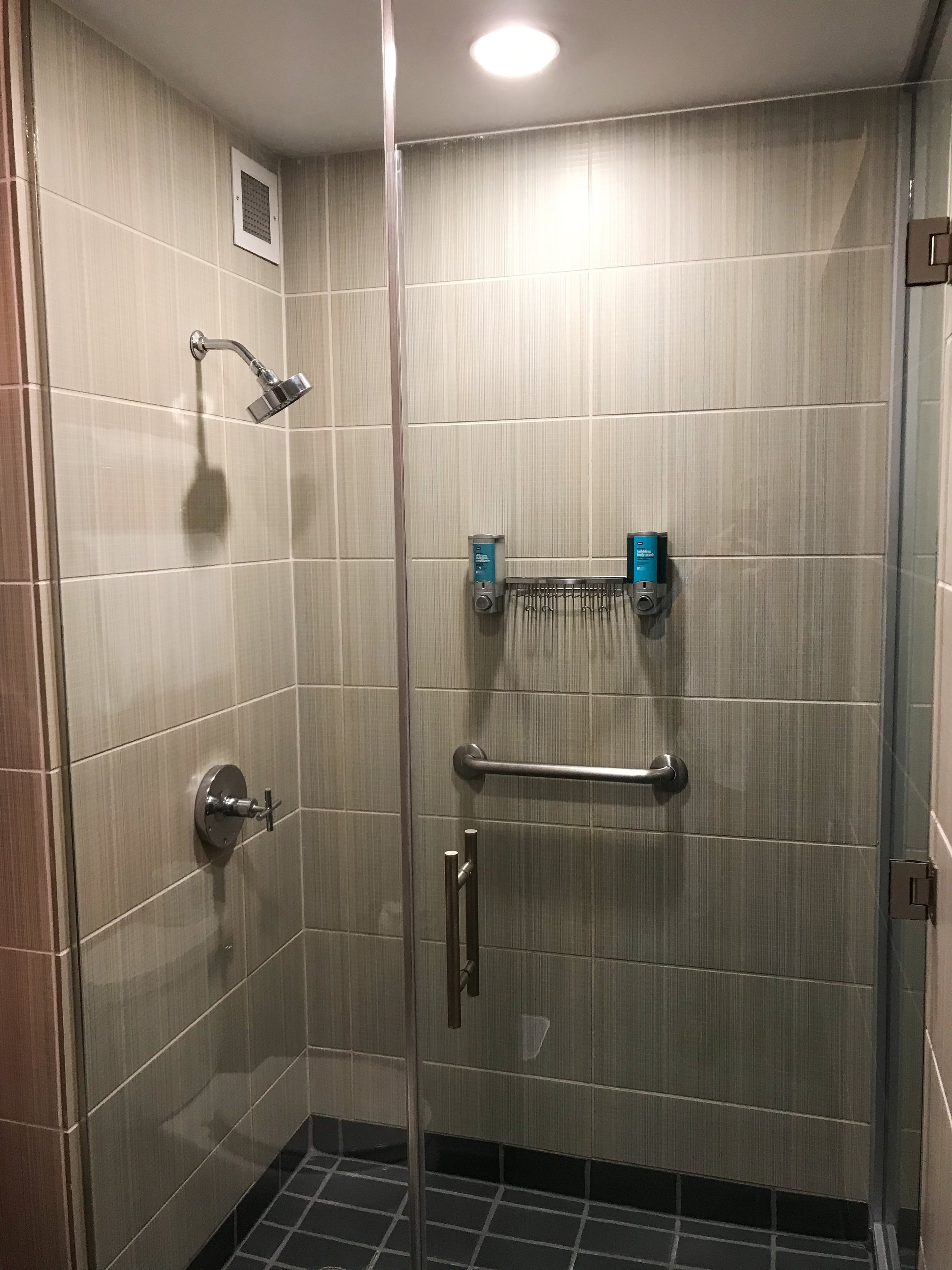 There was a large walk-in shower.