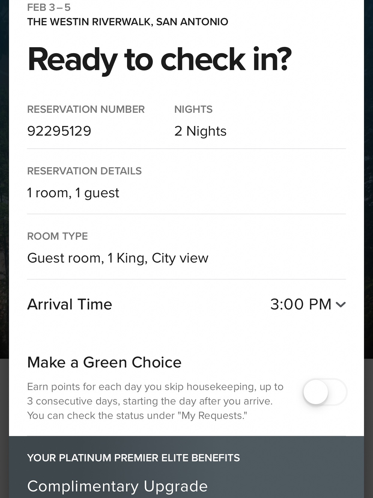 The check in process was easy and allowed me to choose my arrival time. I selected noon, and received a message at 9 am on my arrival day that my room was ready.