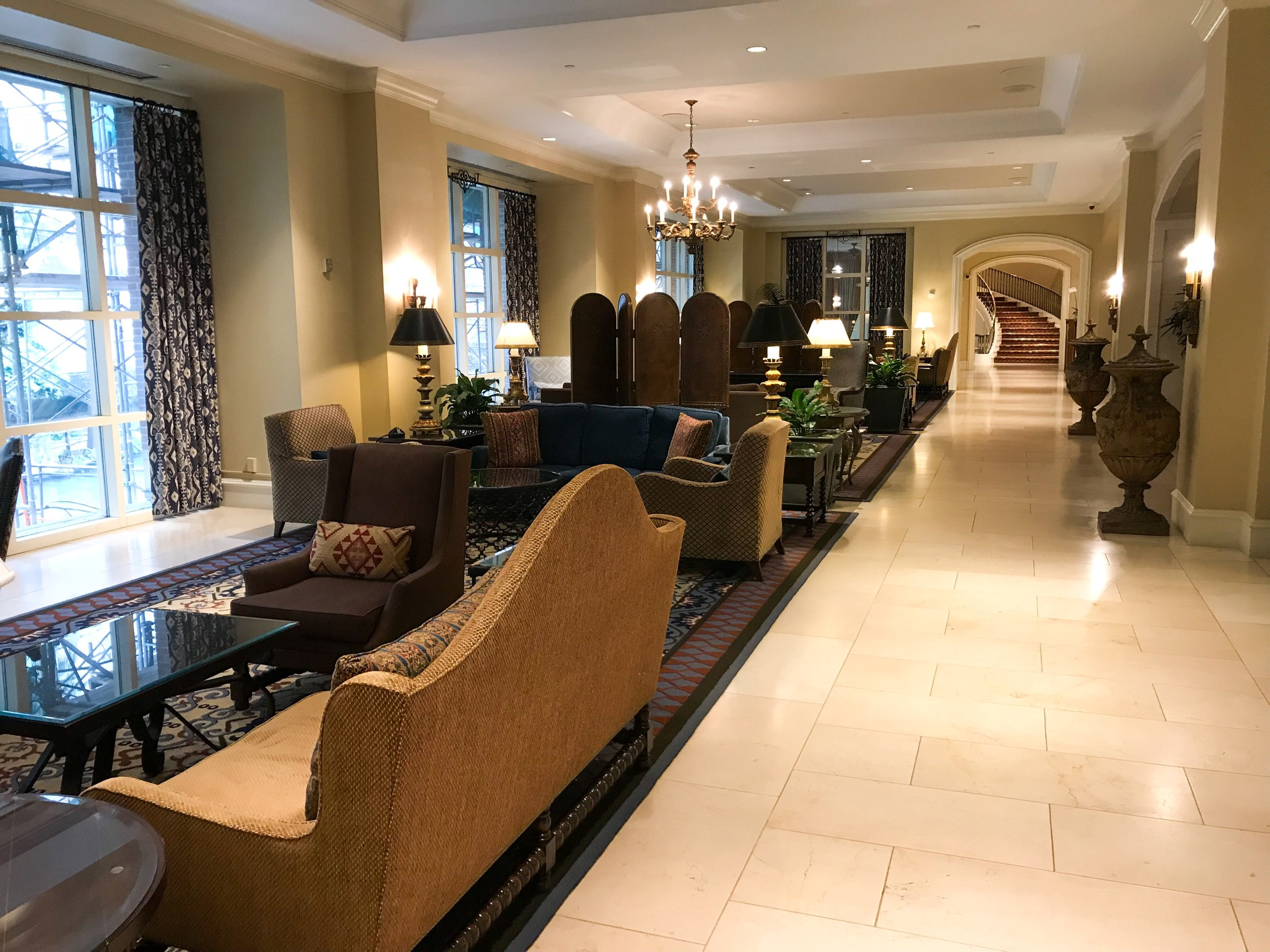 The lobby was luxuriously appointed.