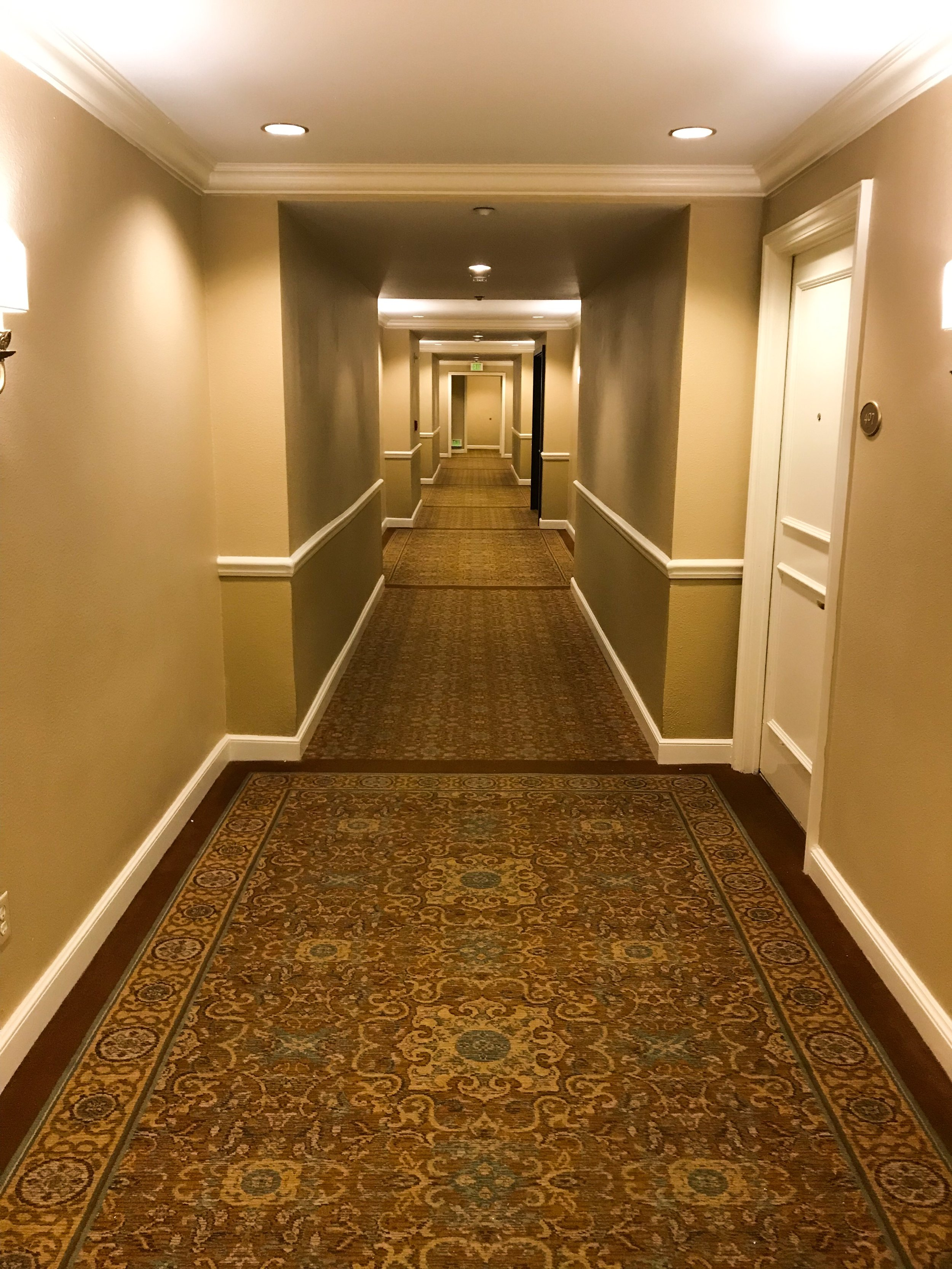 The hotel was well maintained, but was in need of a refresh. The hallway carpet was a little worn.