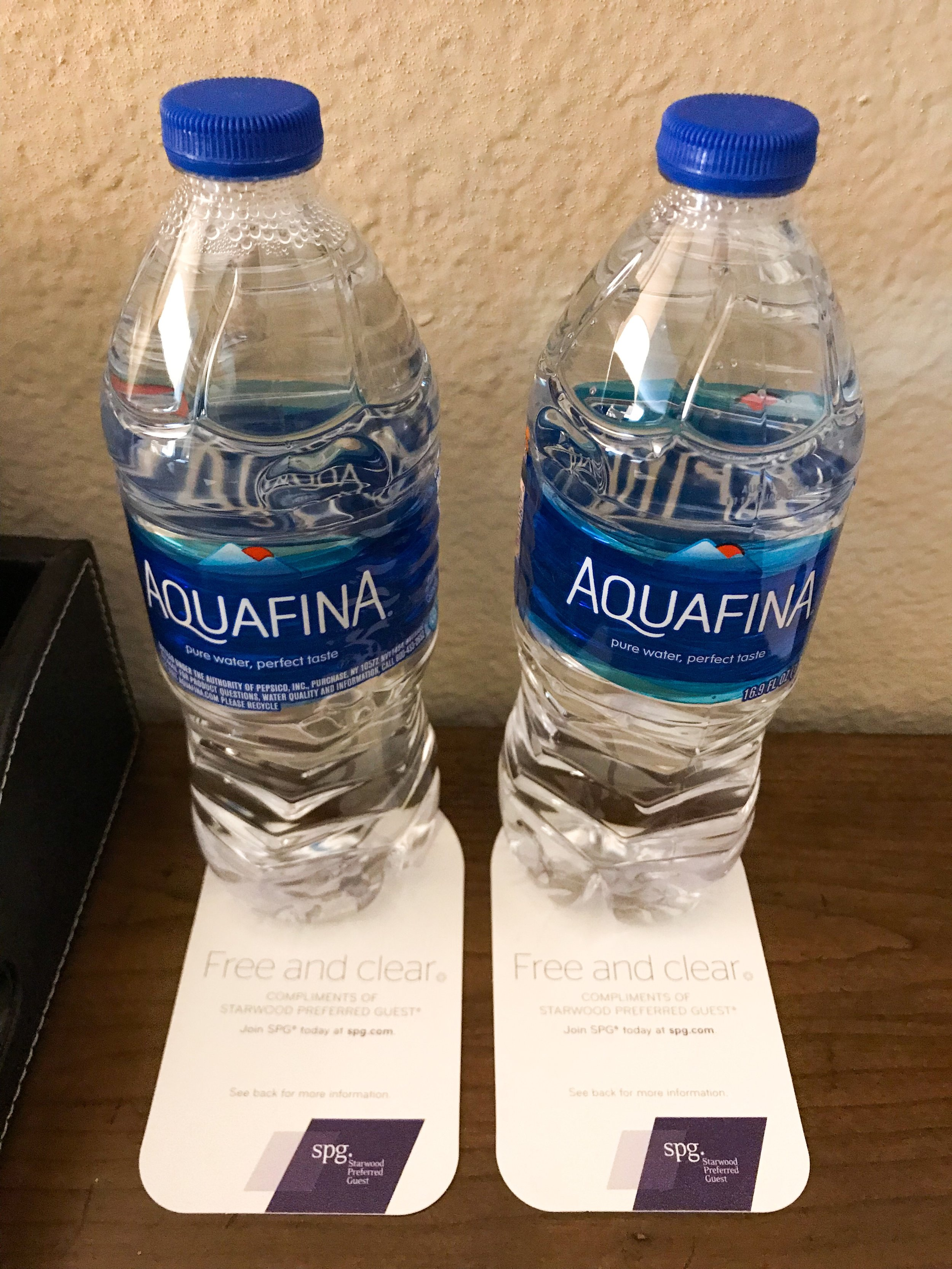Some hotels charge for water bottles - not at the Westin Riverwalk.