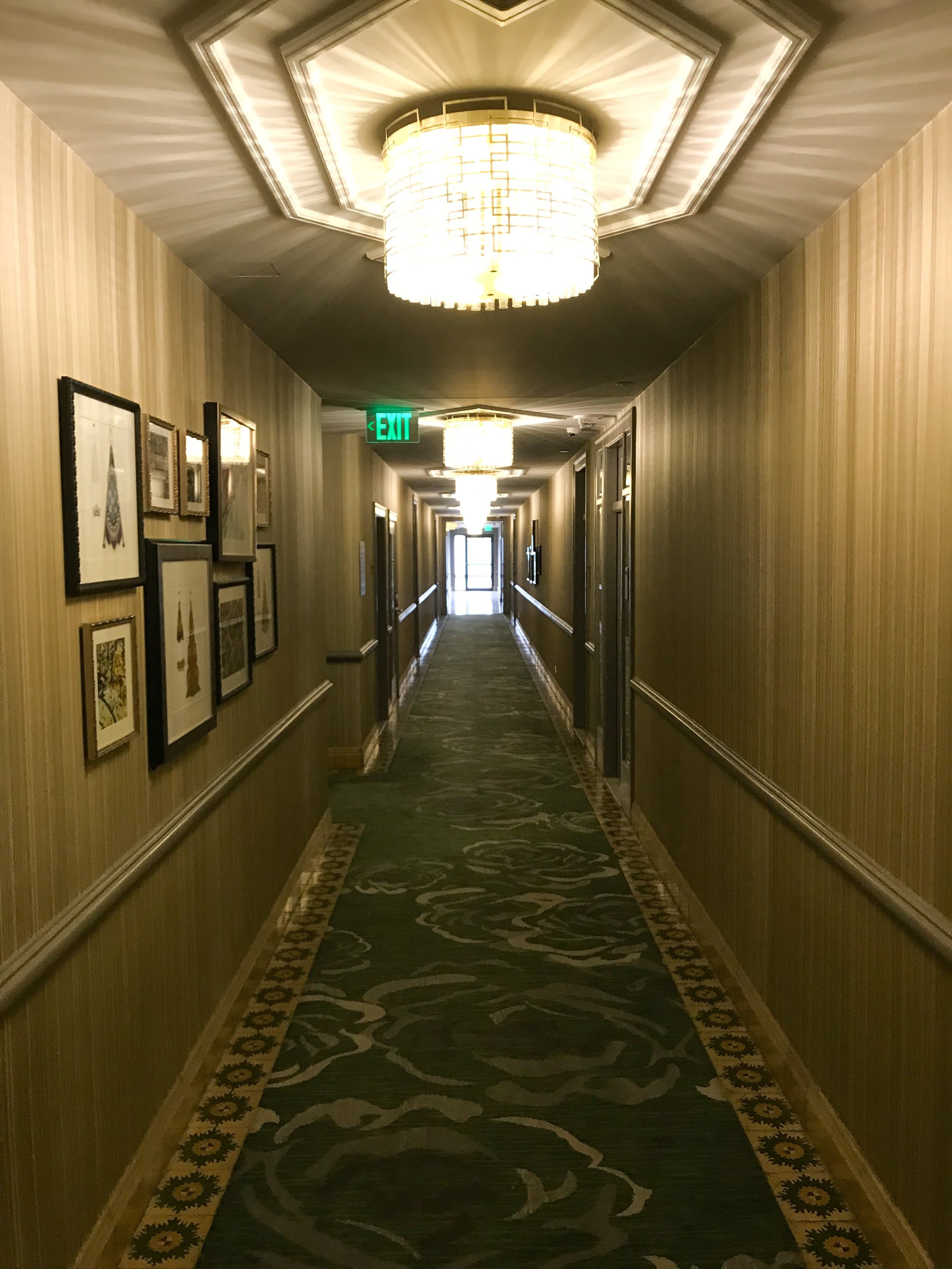 The hallway leading to the rooms.
