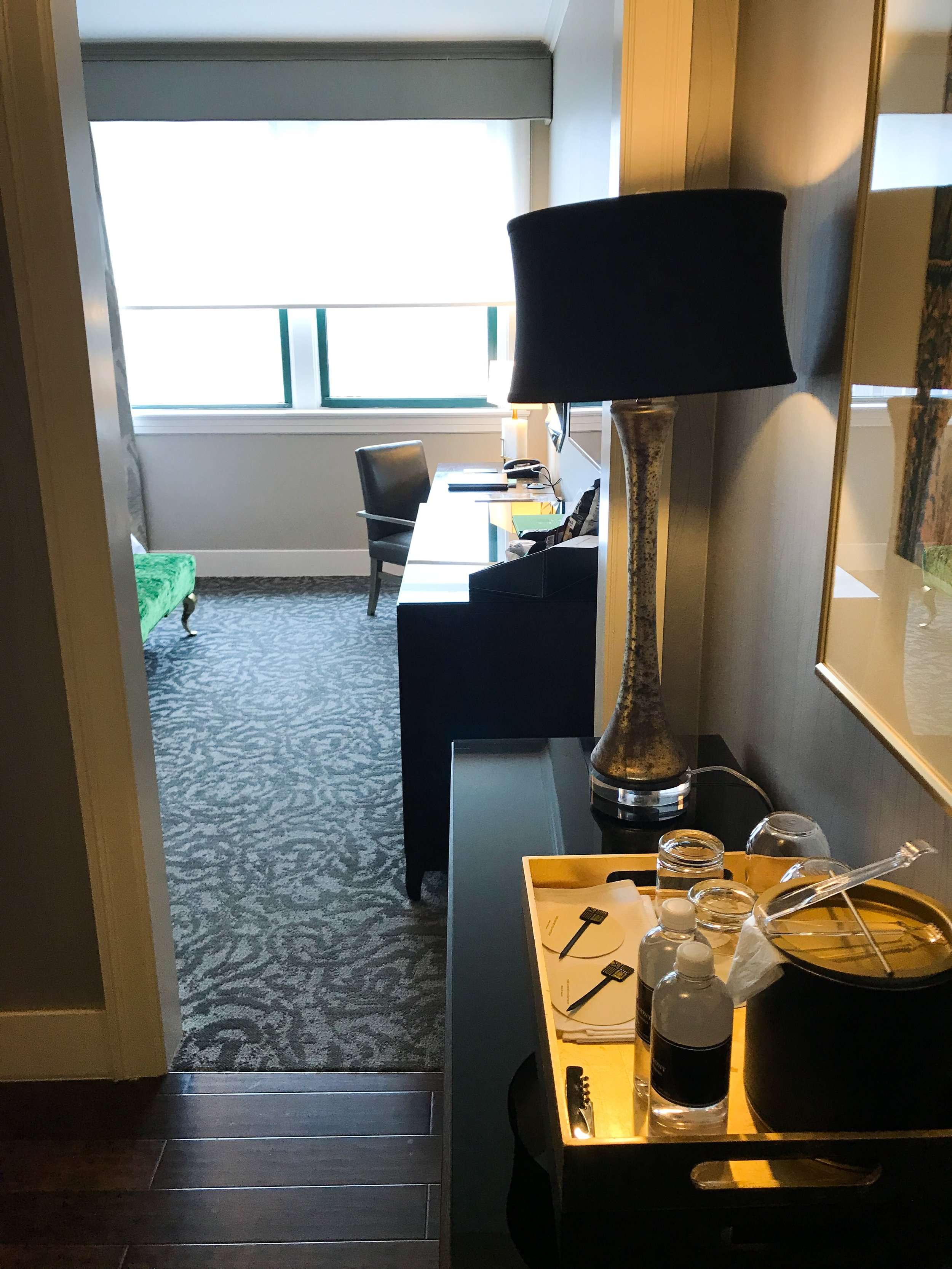 Room entryway and table.