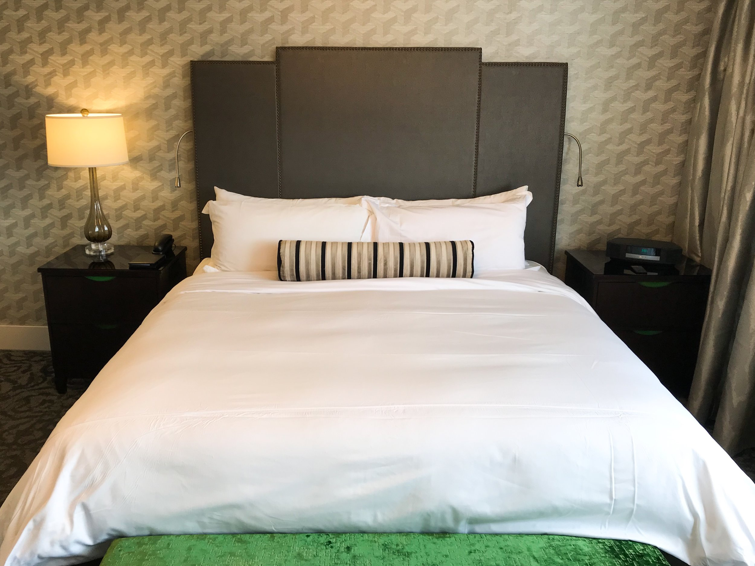 Each side of the bed had reading lights attached.