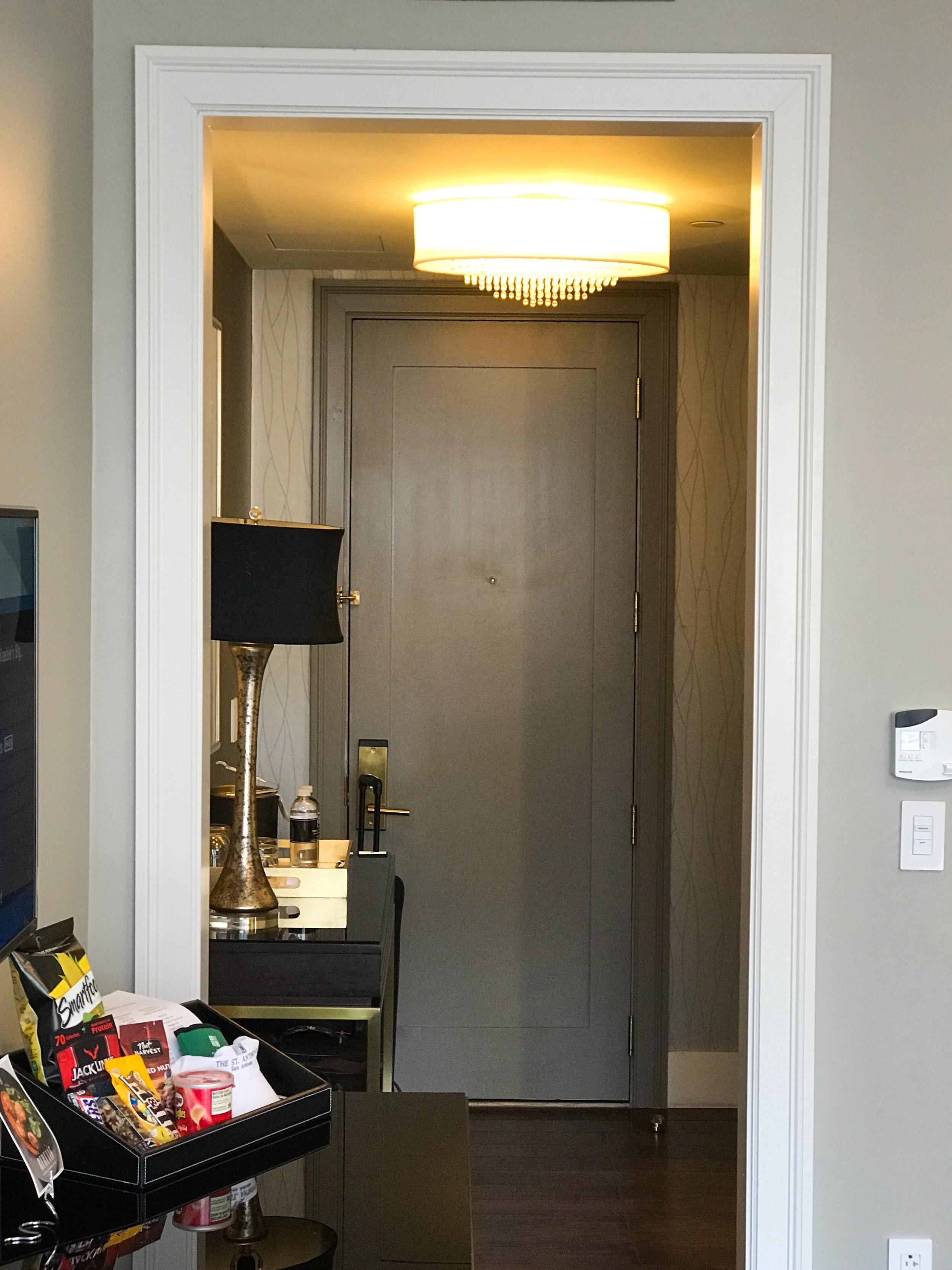 Looking towards the door from the bedroom.