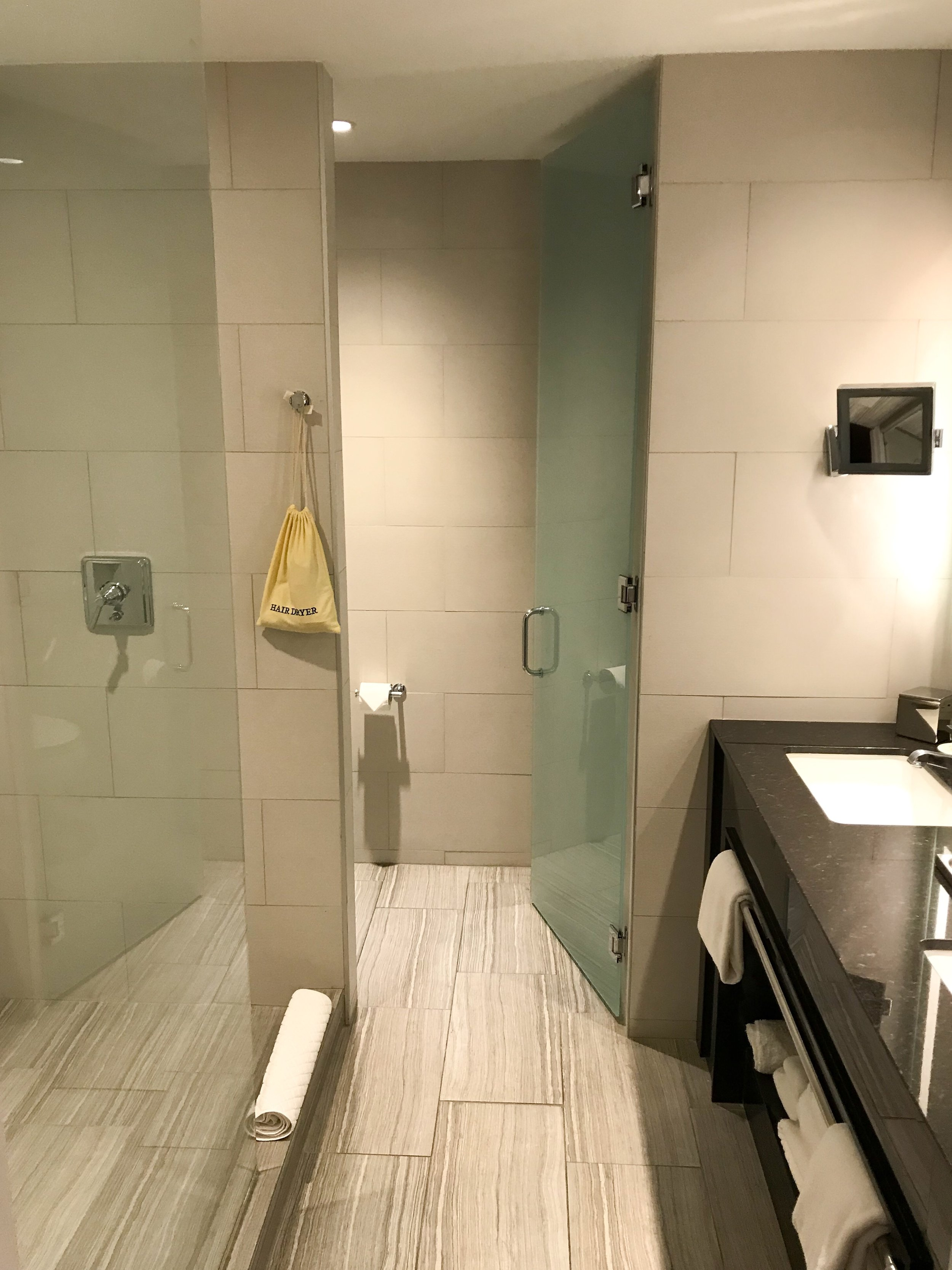The bathroom was recently updated and was a good size.
