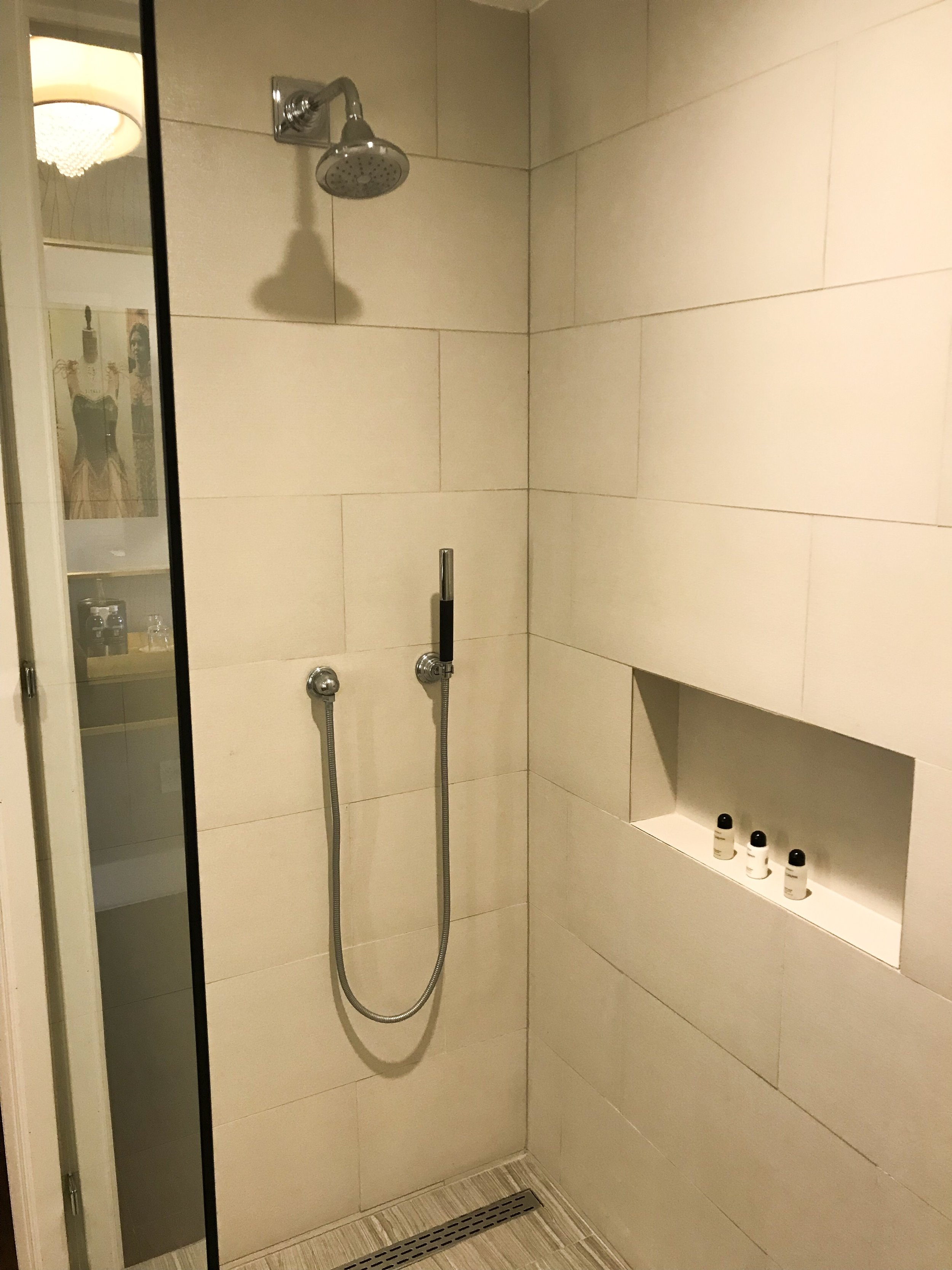 The shower had a handheld extension.
