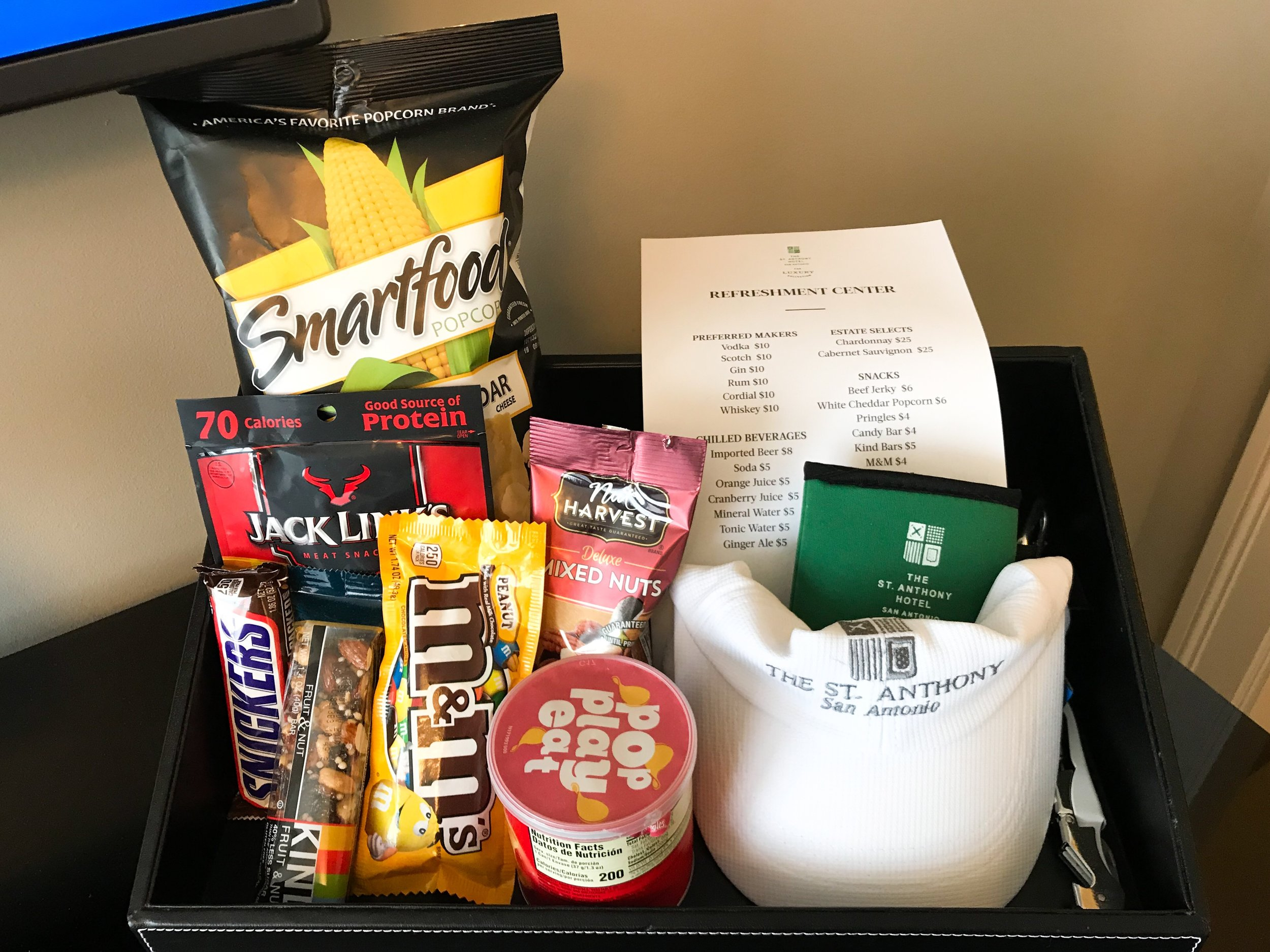 There was a small snack bar in the room.