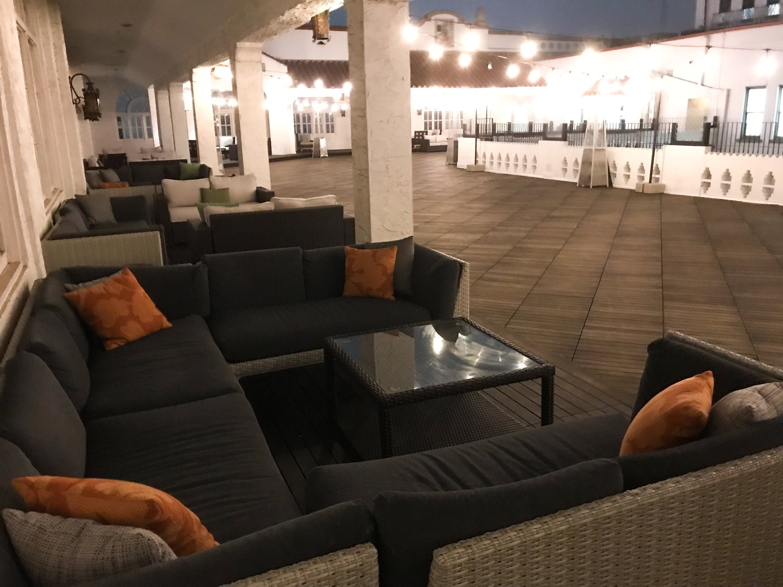 The outdoor patio had covered seating.