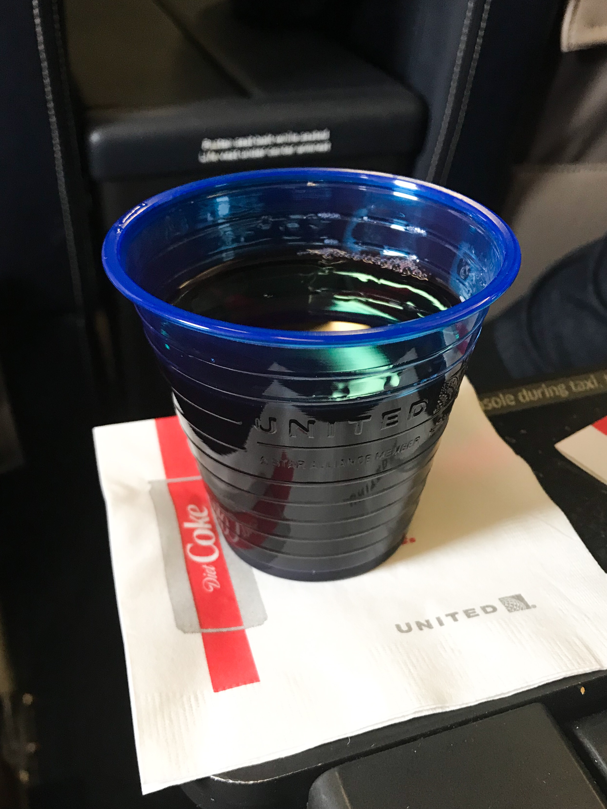 United offers pre-departure beverage service.