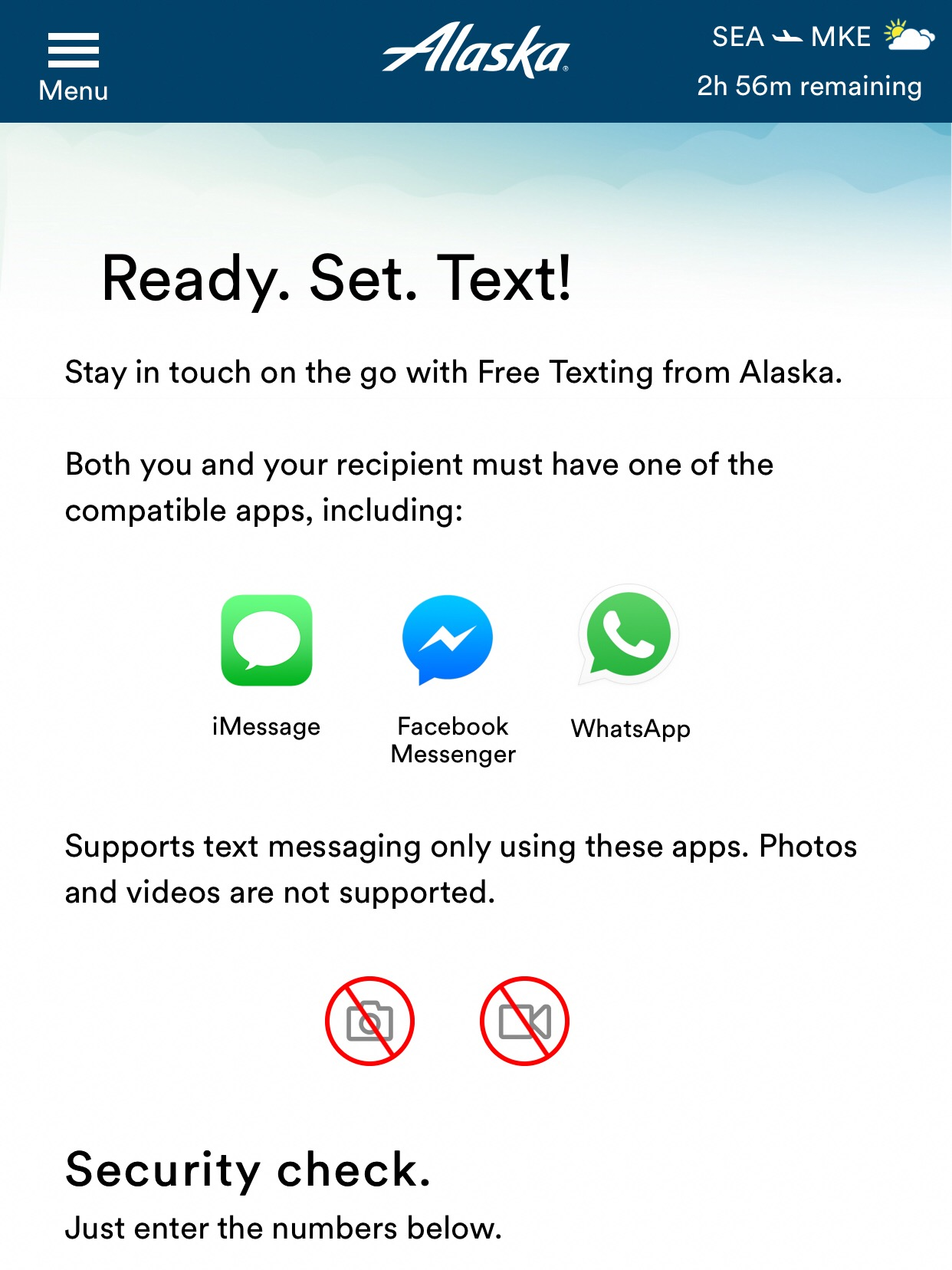 Alaska has joined Delta and Southwest in offering free texting while inflight.
