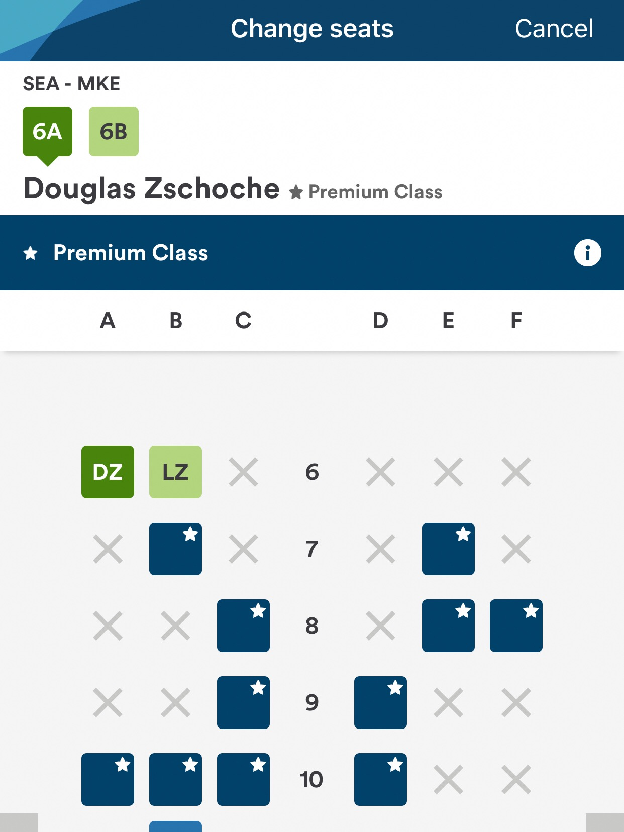 I was able to snag the seats immediately behind First Class.