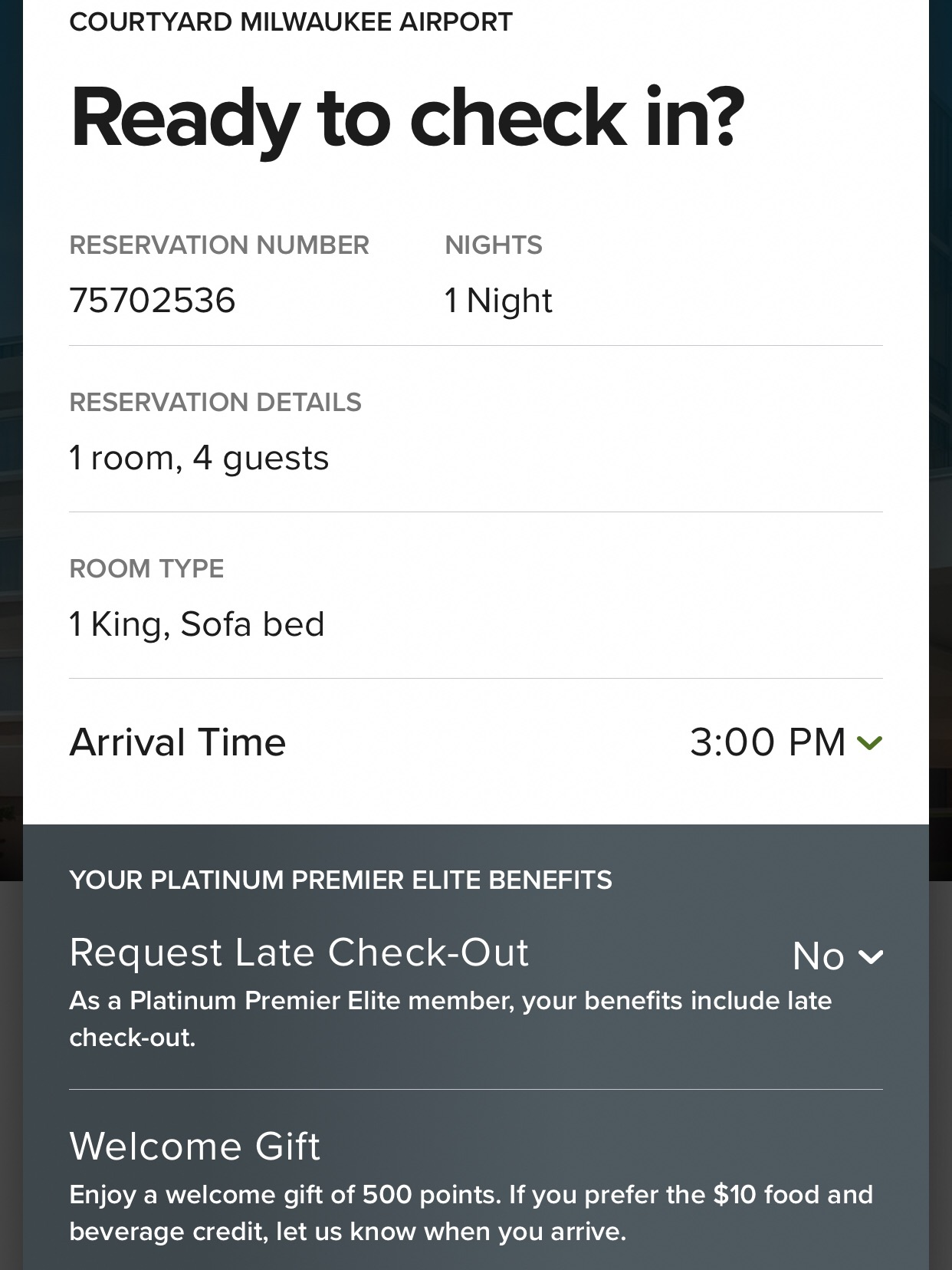 All guests can select an arrival time, and certain Bonvoy Elite tiers are entitled to guaranteed late check-out (I checked in the day before Platinum Premier Elite became Titanium Elite).