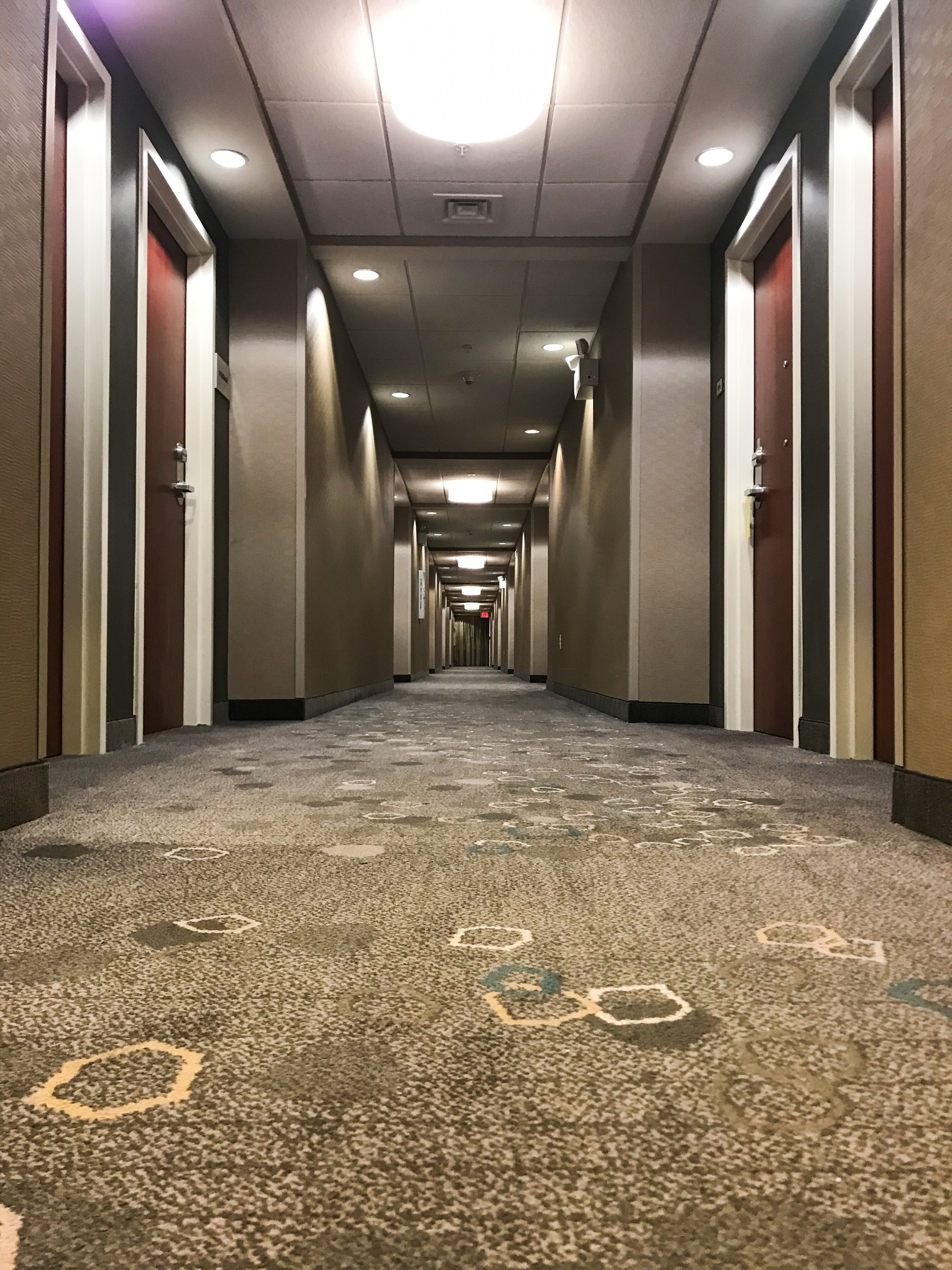 The hallway leading away from the elevators.