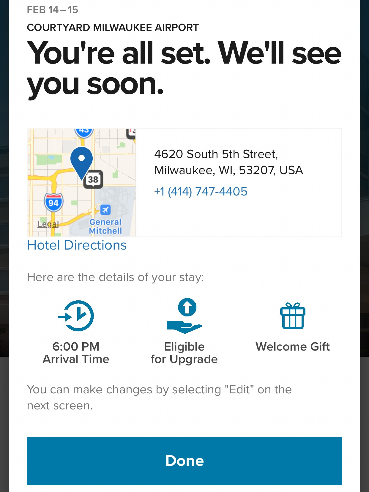This is the confirmation screen after you finish the check-in process.