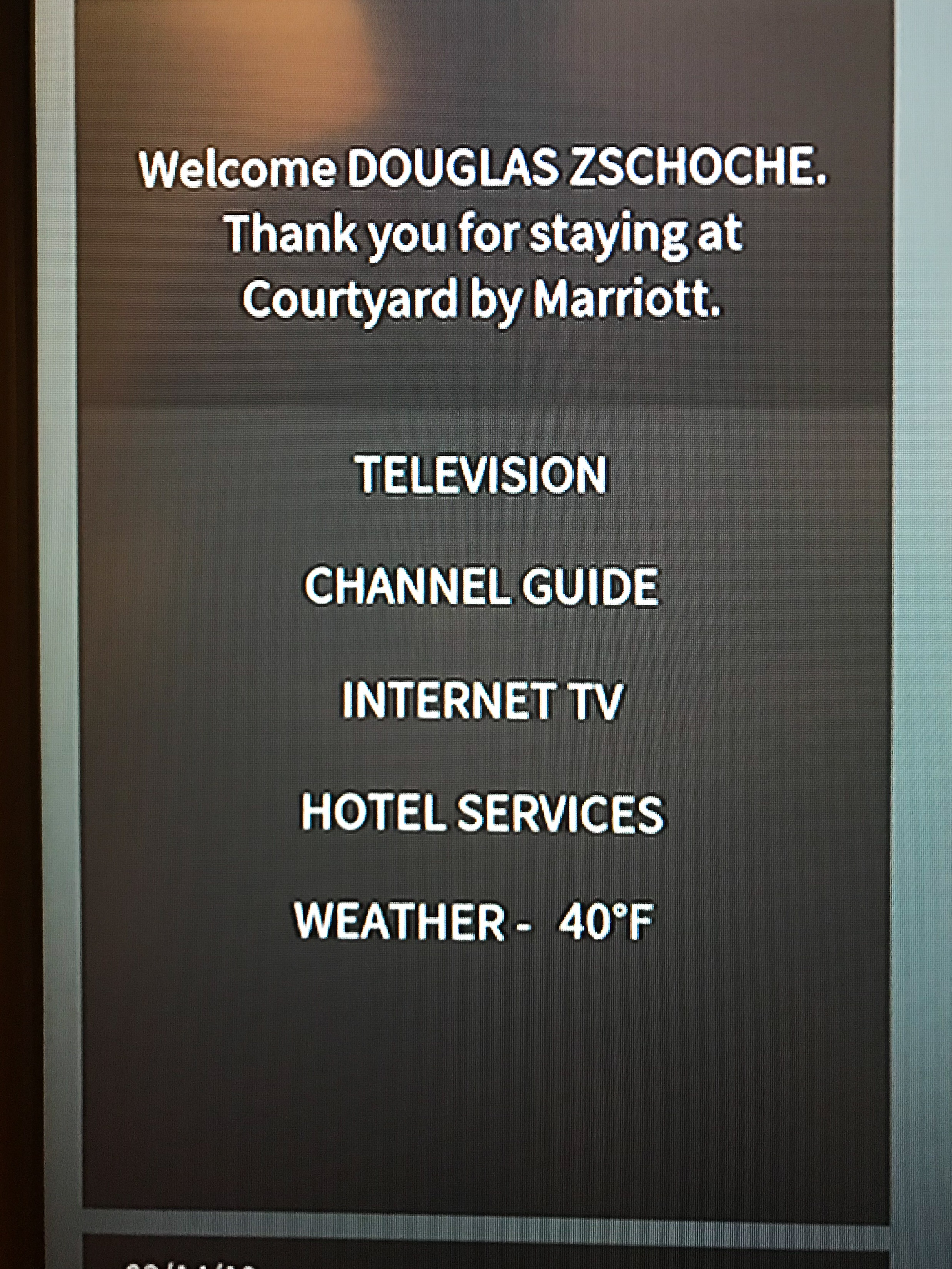 A nice welcome message on the TV.
