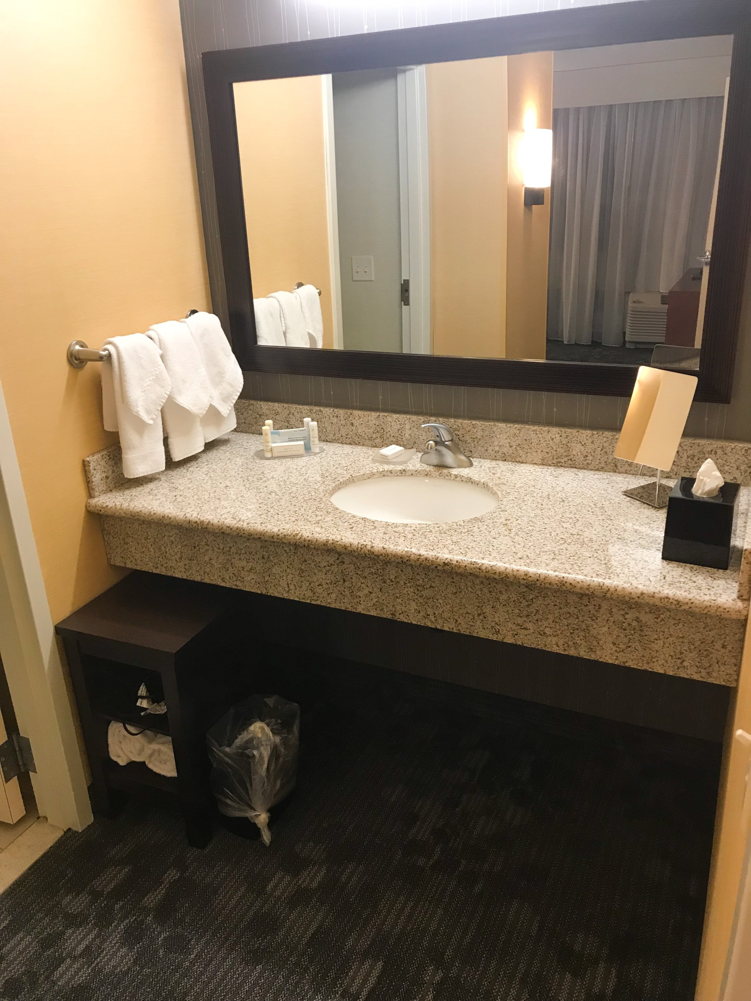 The bedroom had a single sink, but had plenty of counter space.