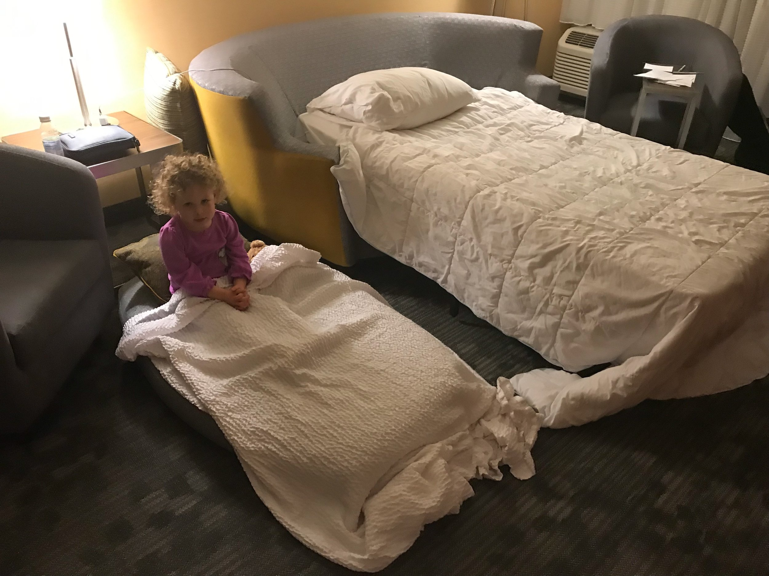 The pullout bed was only a twin, so unless you have a small guest (such as a three-year-old), don't expect to sleep four people in the room.
