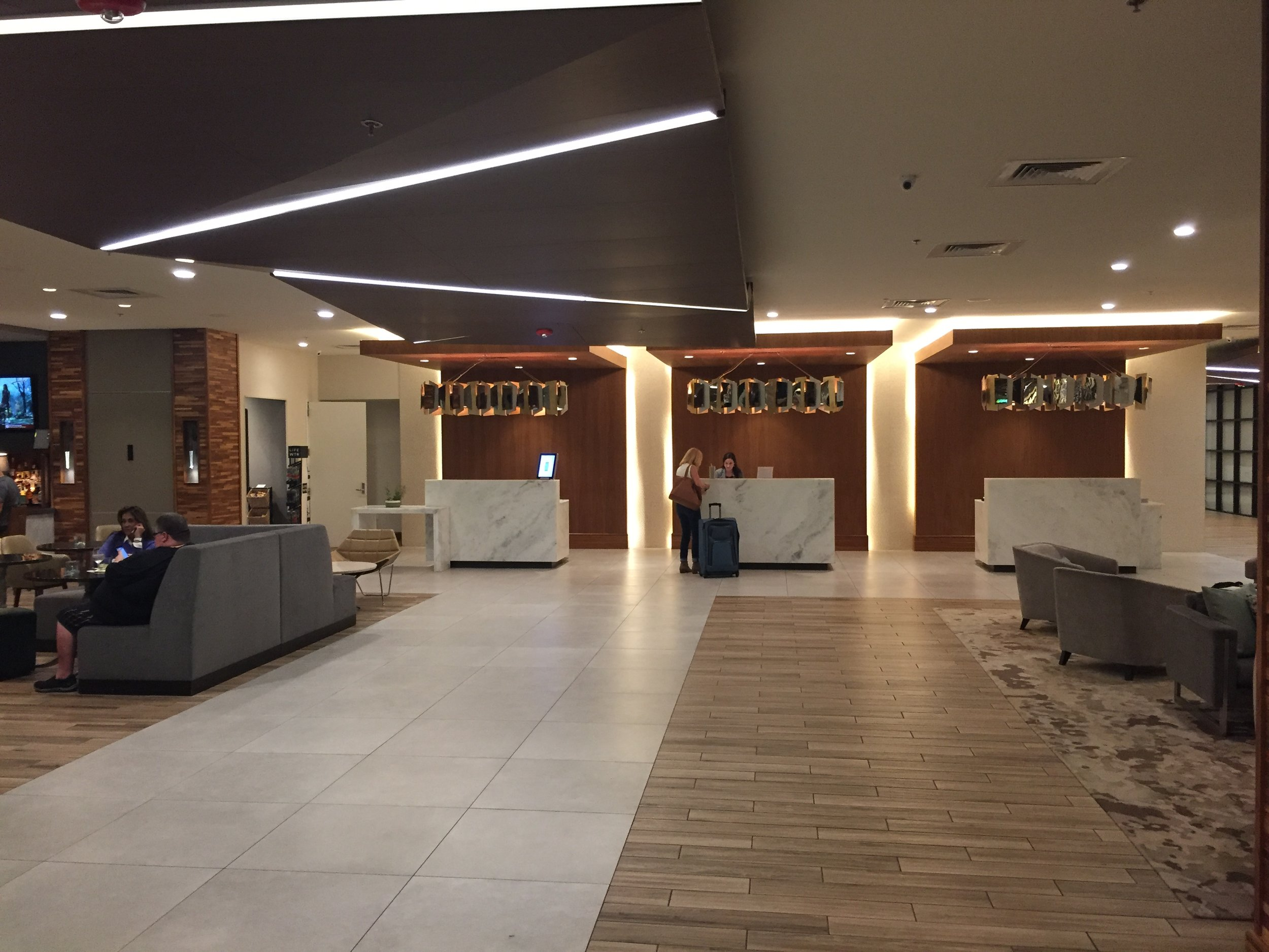 The spacious lobby leads to three check-in stands, where the staff always greets guests with a smile and greeting, whether you're checking in or heading to the elevators.