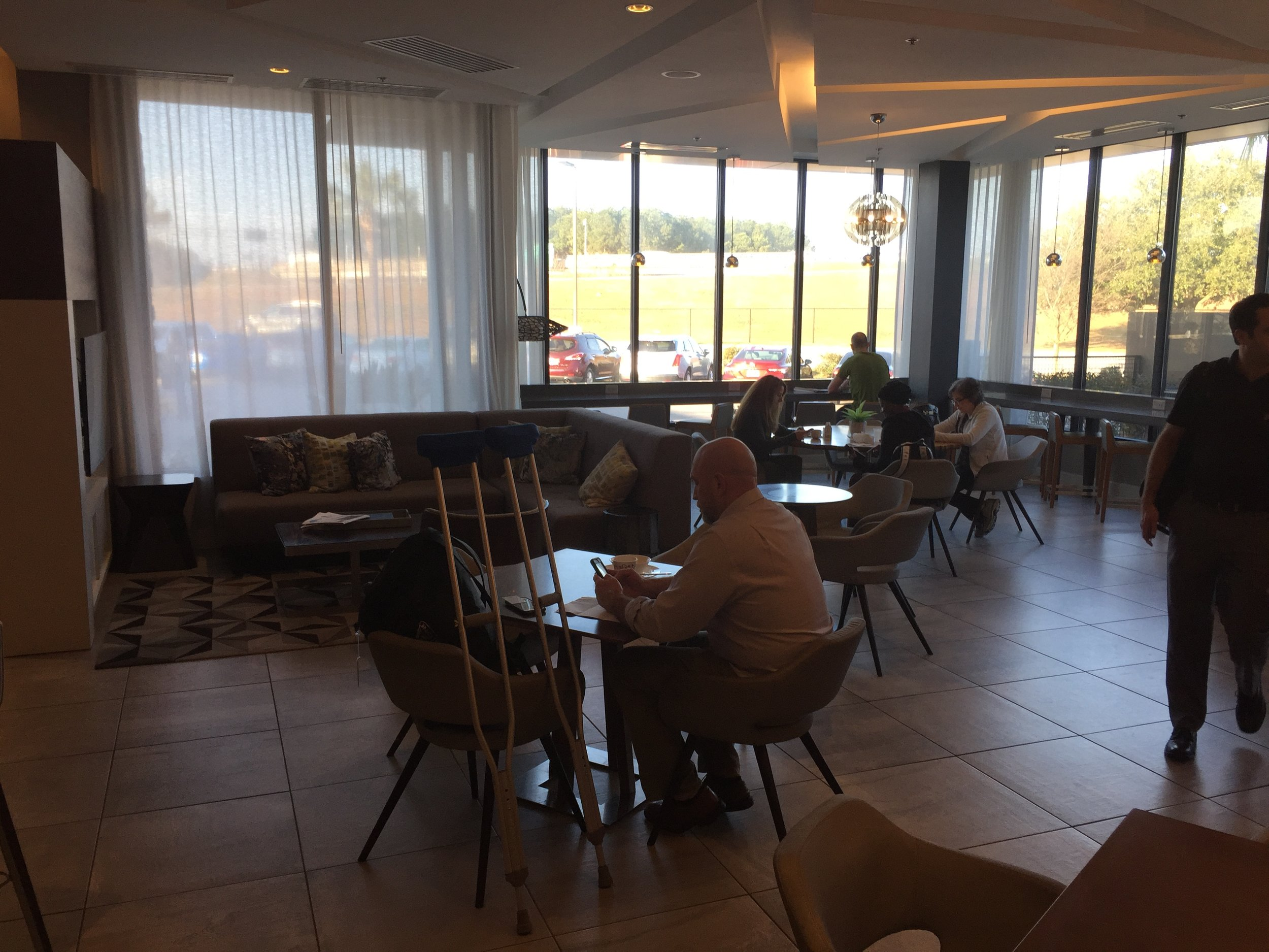 The M Club is located across from the bar and is very spacious.