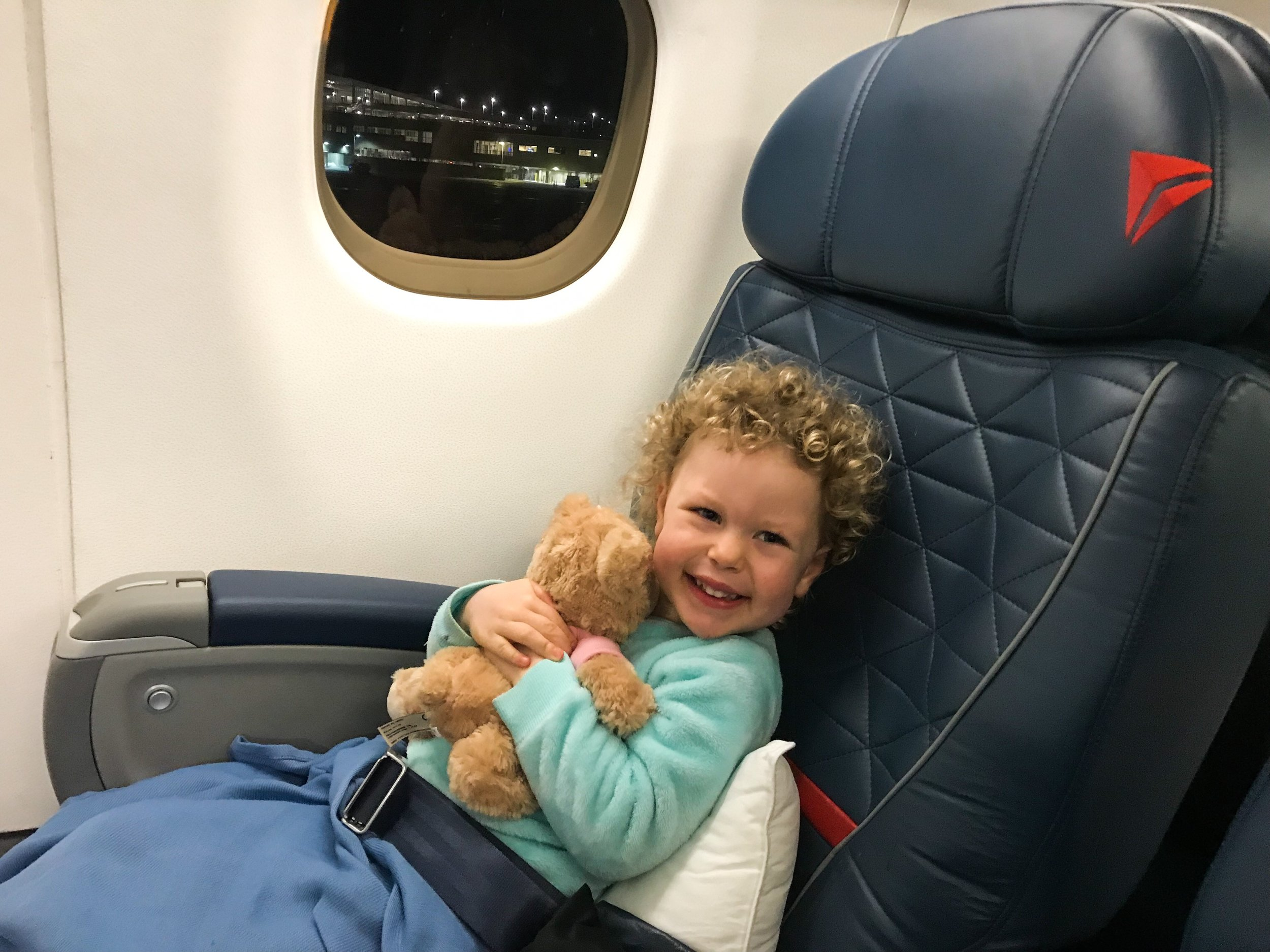 Delta provides First Class passengers with a pillow and blanket (you have to bring your own teddy bear).