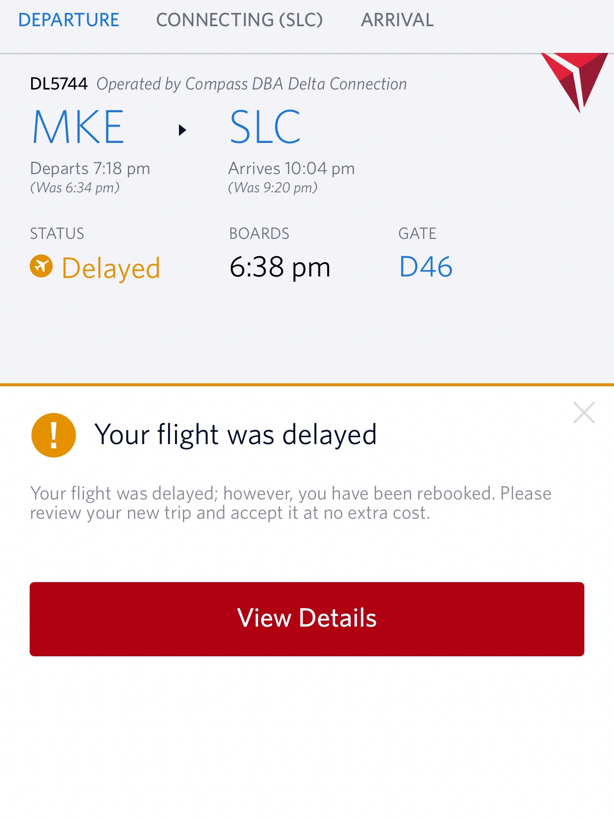 Delta has an incredibly efficient way of notifying you if your flight is delayed. Within a matter of minutes of the initial delay, I received a phone call and received a notification on the Delta App.