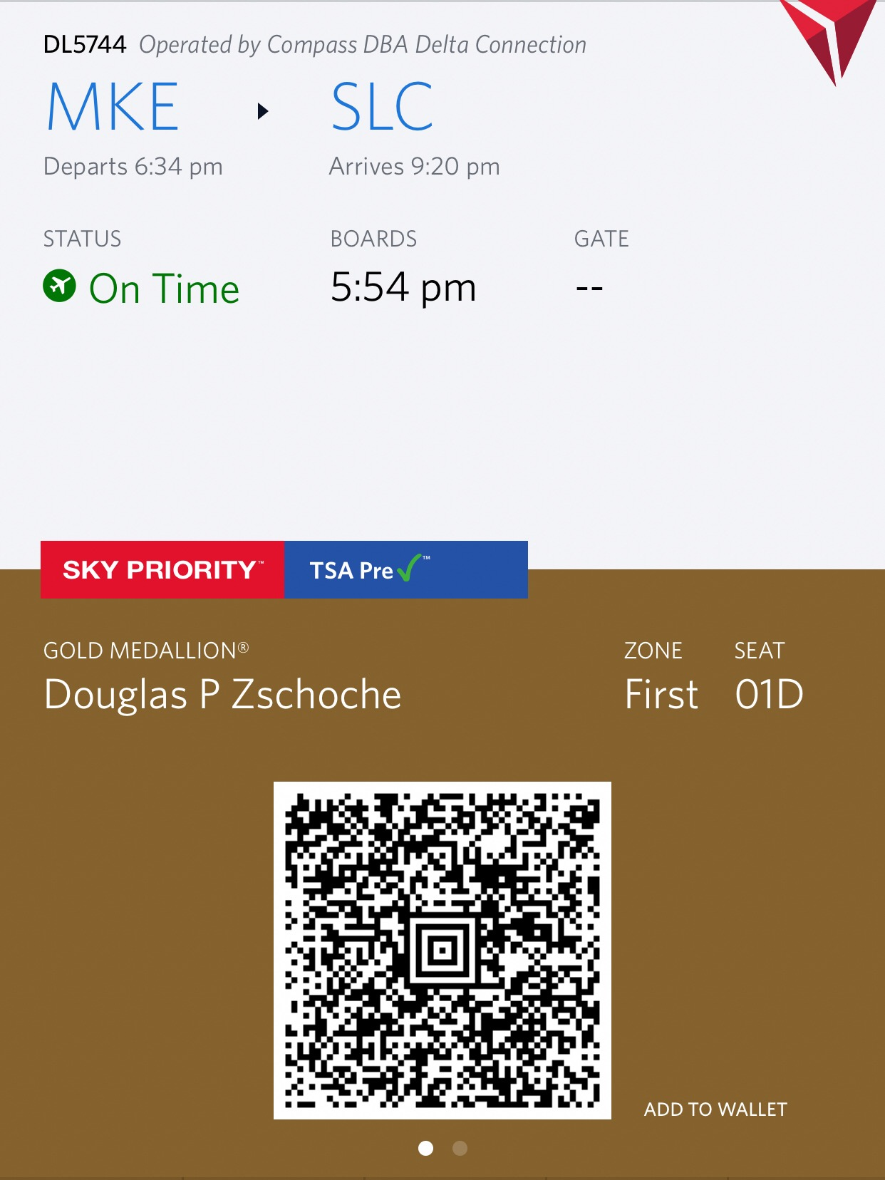 Your boarding pass becomes available once you have acknowledged the Hazardous Materials Policy. You can also change your seat, add checked bags, etc. once you are on this screen.