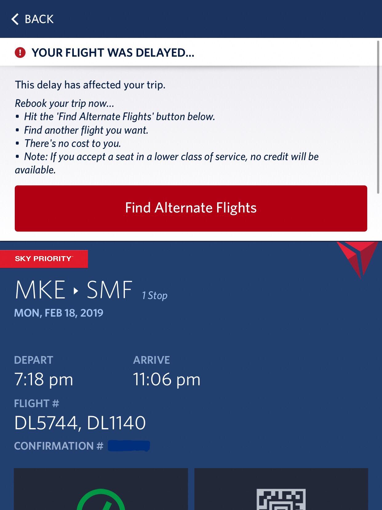 If you have a delayed flight, Delta gives you the option of selecting an alternate flight at no additional cost. There are typically several options available, though it might be the following day or include multiple layovers.