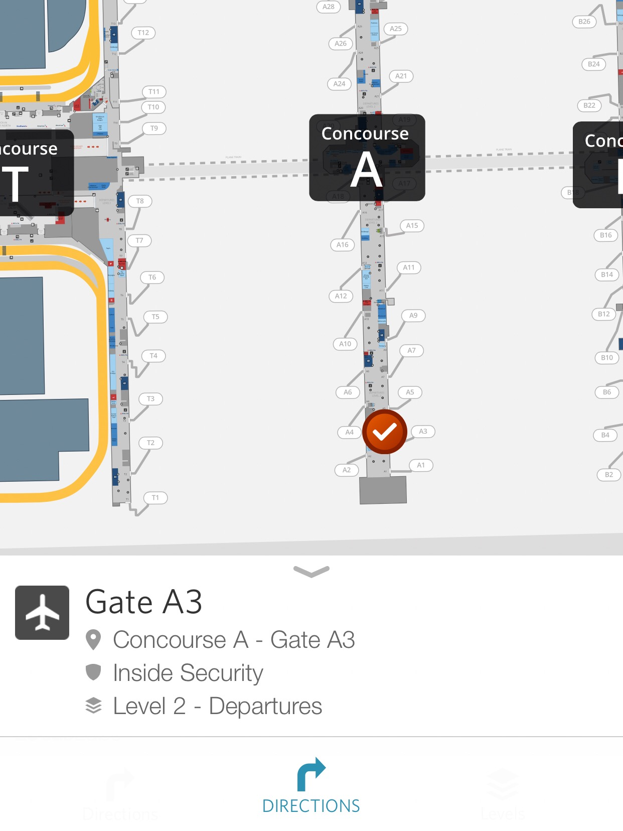 Delta's app will give you directions to your next gate if you are connecting.