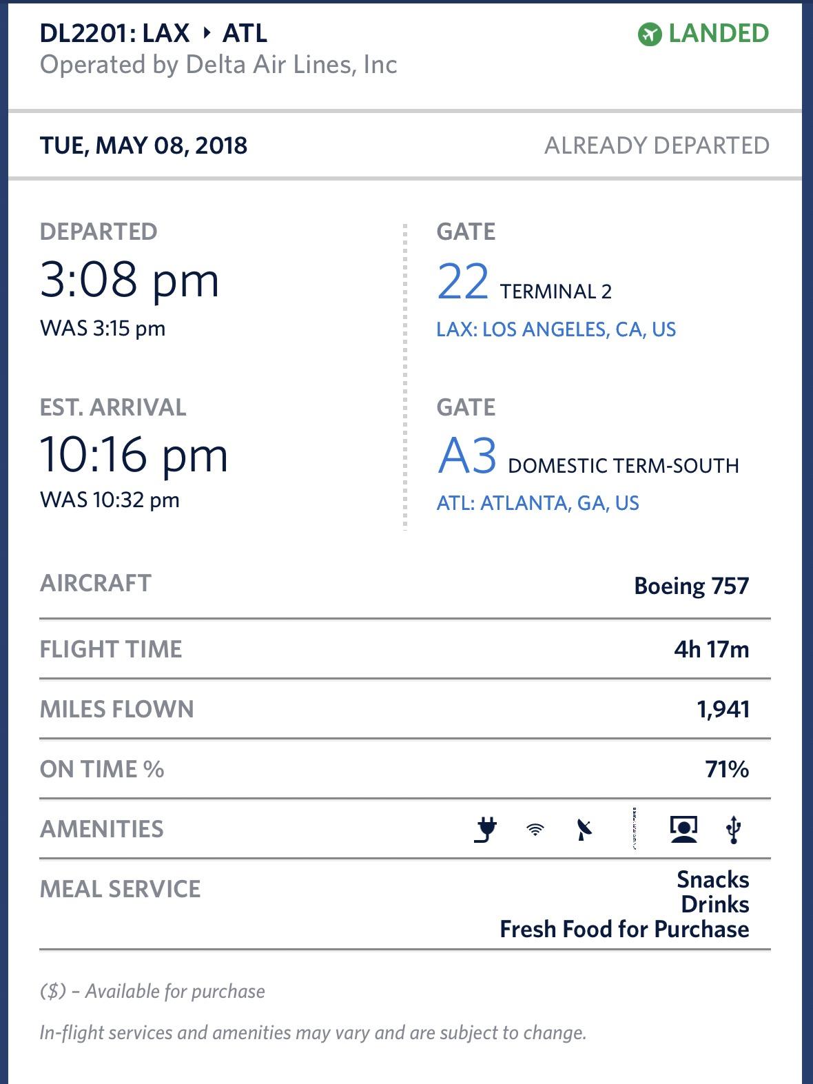 Early arrival into Atlanta.
