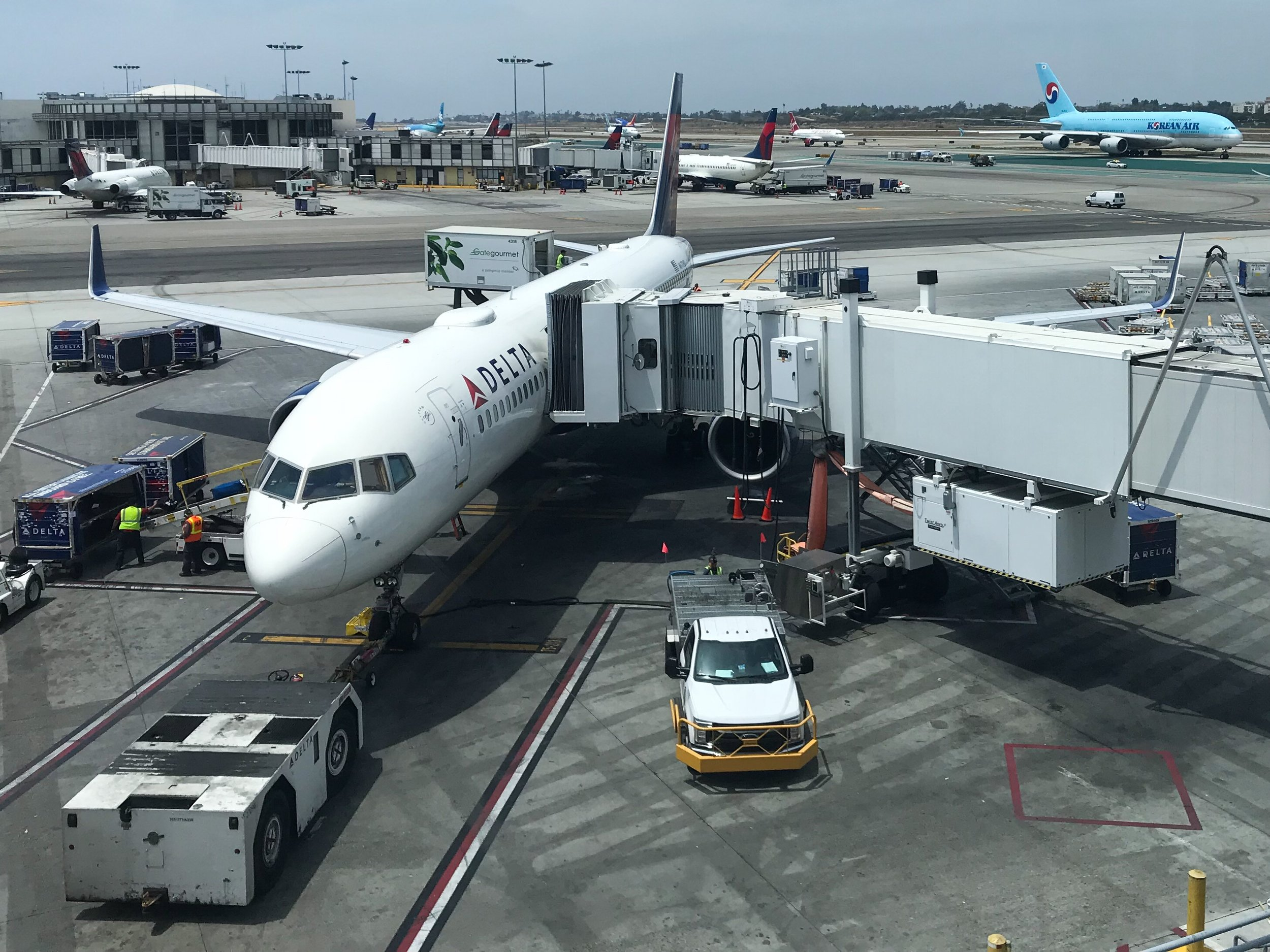 My 757-200 (75D) to Atlanta at the gate in Los Angeles.