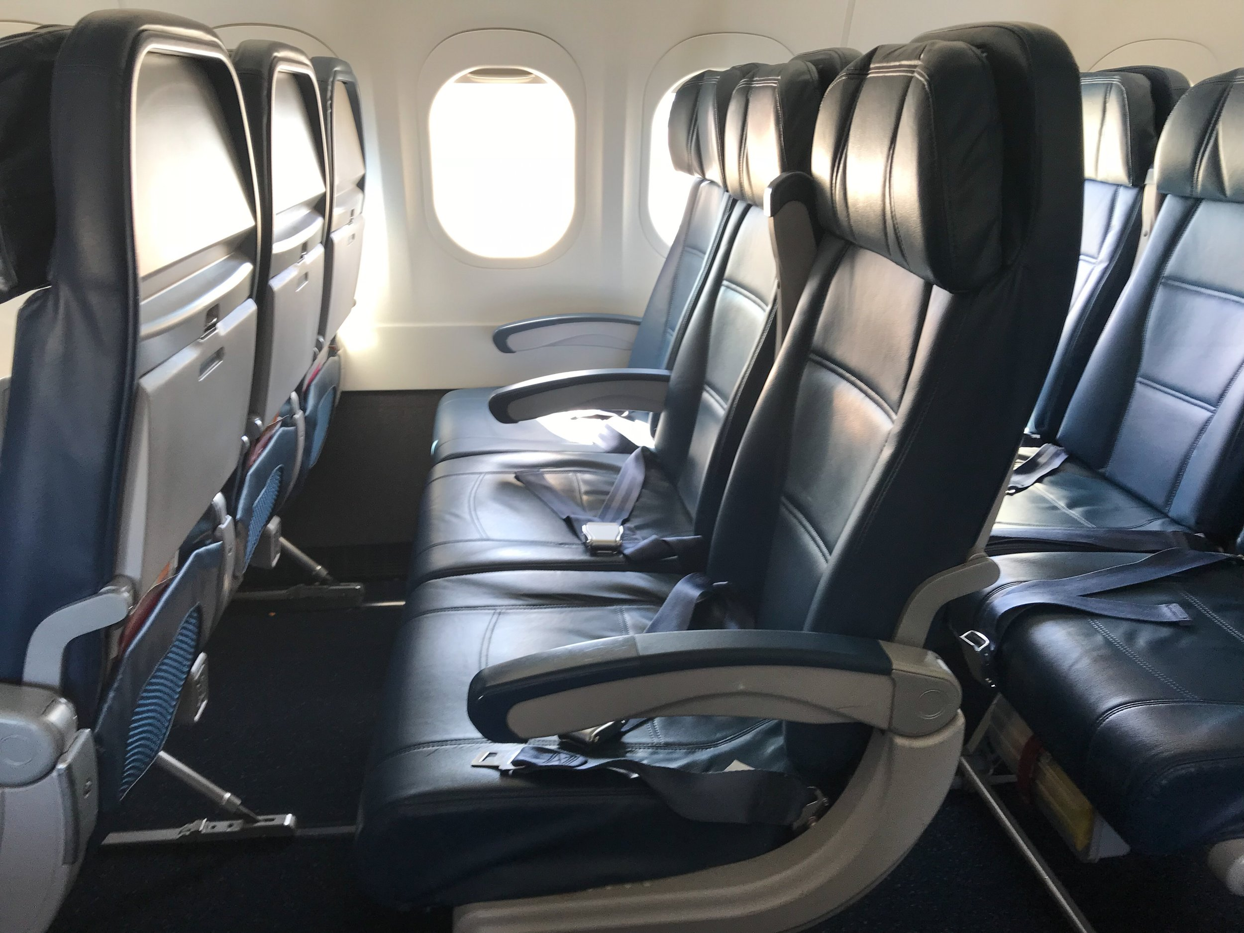 The cabin was bright and airy and the seats were comfortable, at least for a short two-hour flight.
