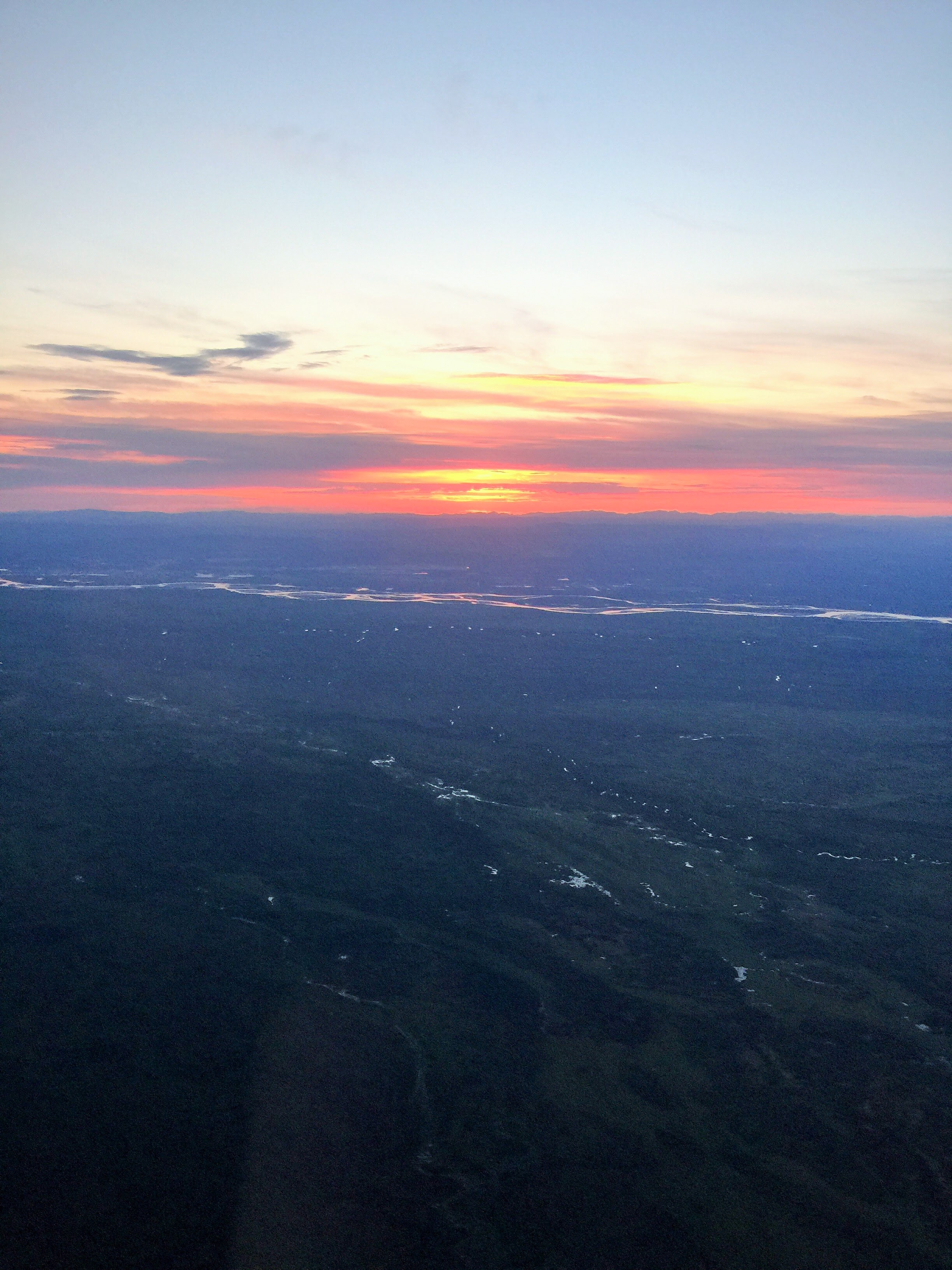 The sun set again briefly as we descended into Fairbanks.