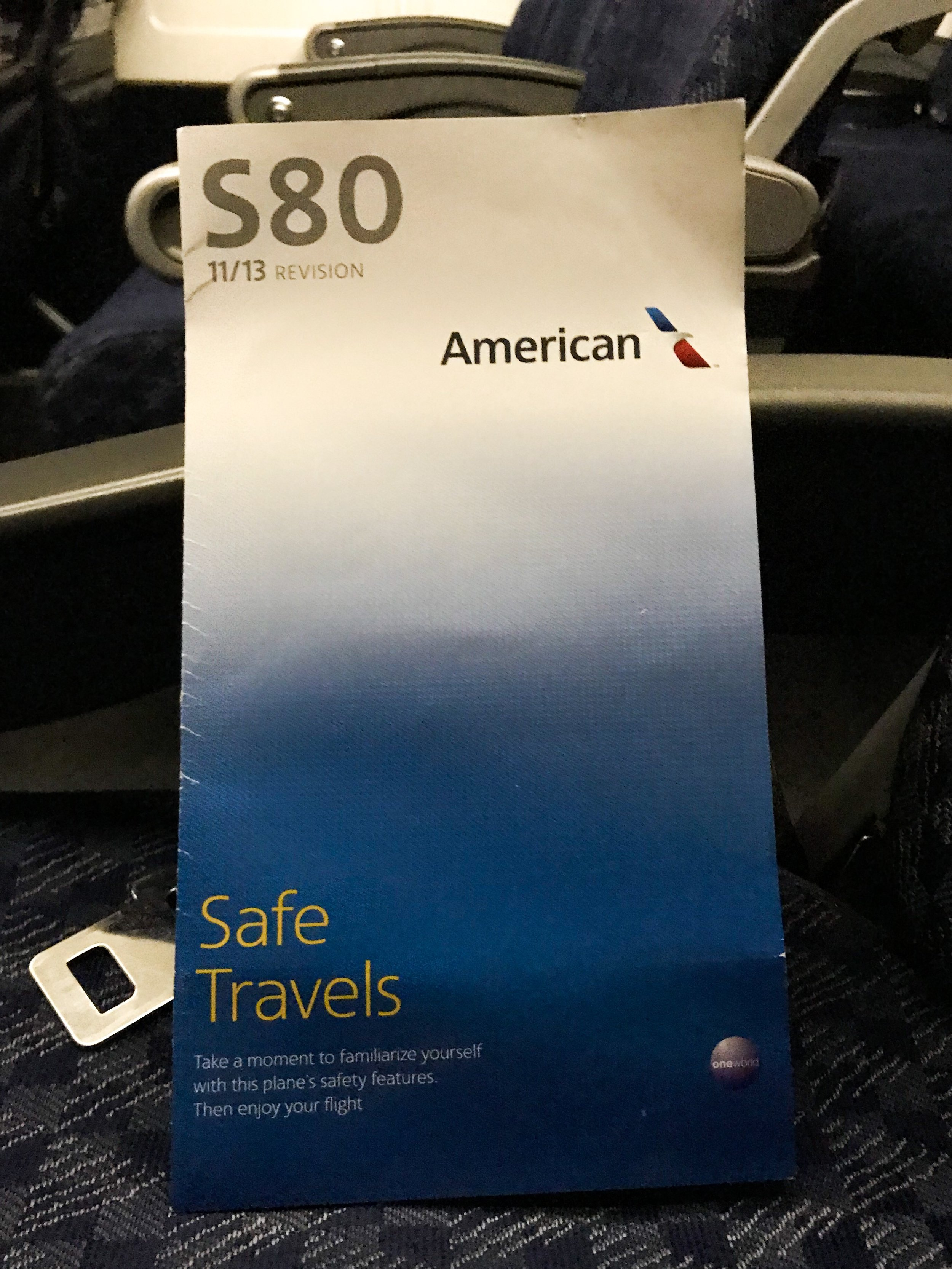 The safety card was the only thing in the cabin that showed the updated branding (which was introduced six years prior).