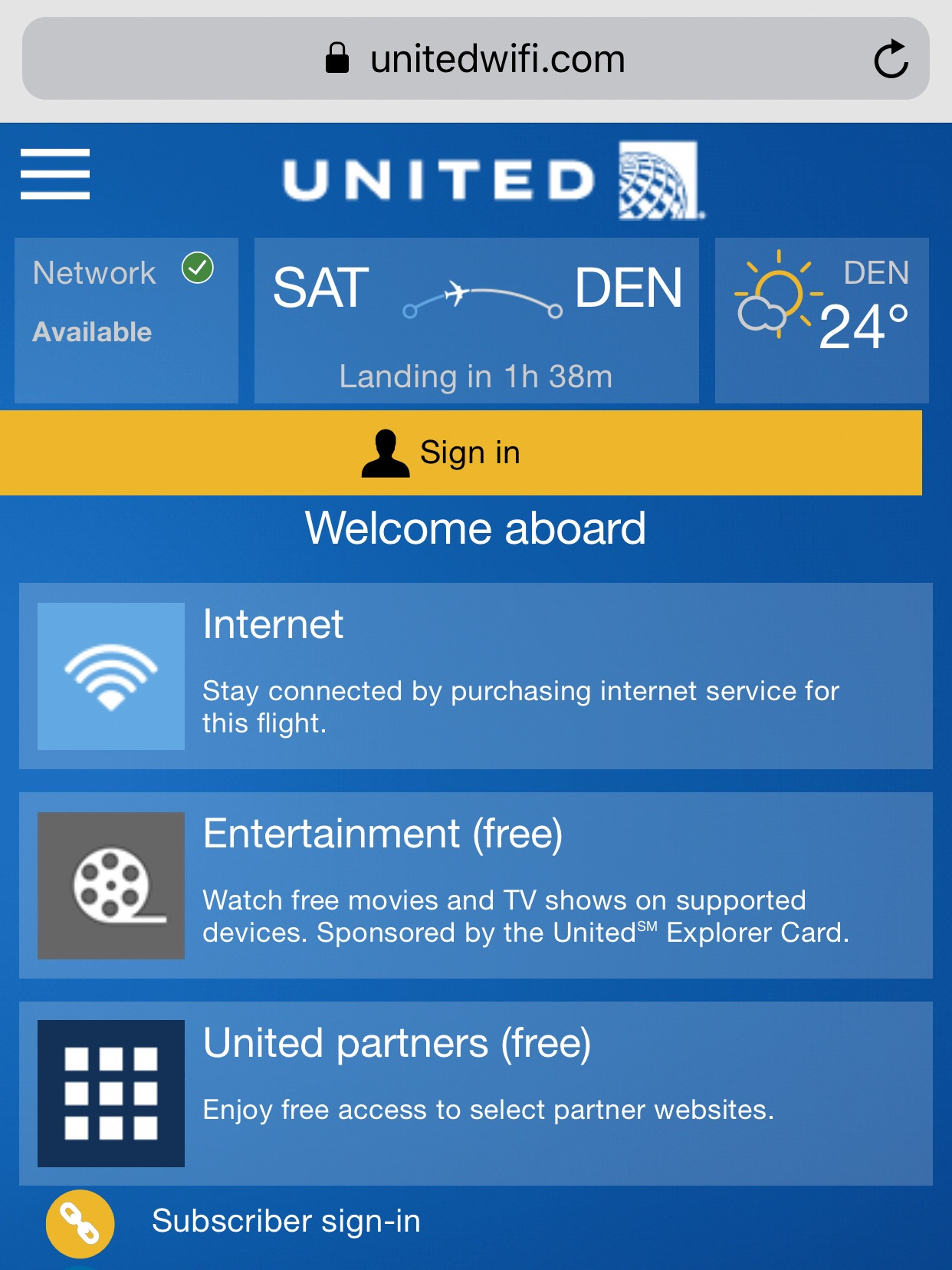 United offers inflight wifi, with complimentary entertainment, complimentary access to certain websites, and complimentary access to united.com.