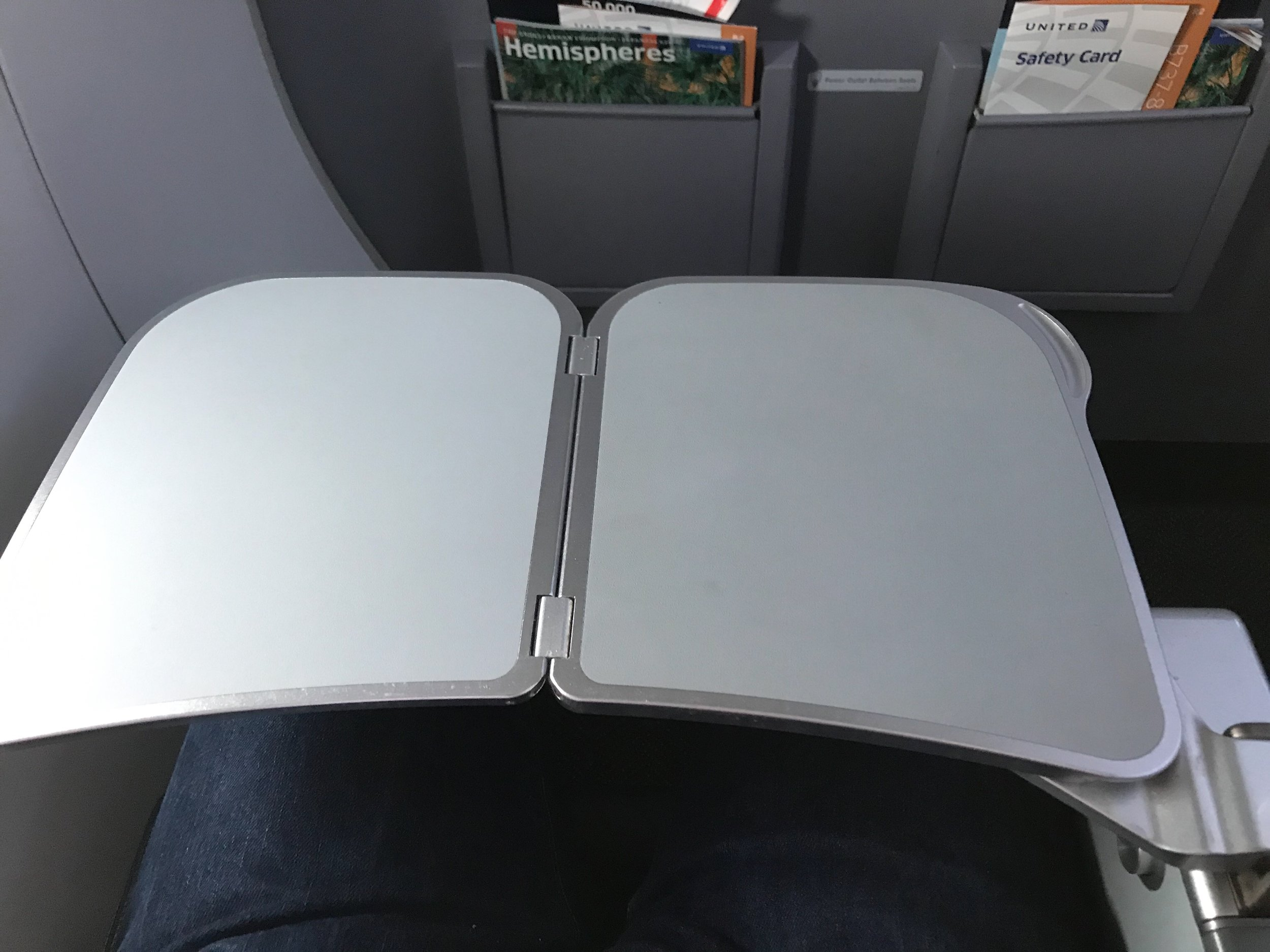 The tray table in Row 7 (seats D, E, and F) and Row 8 (seats A, B, and C) folds out of the the armrest, making the armrest immovable.