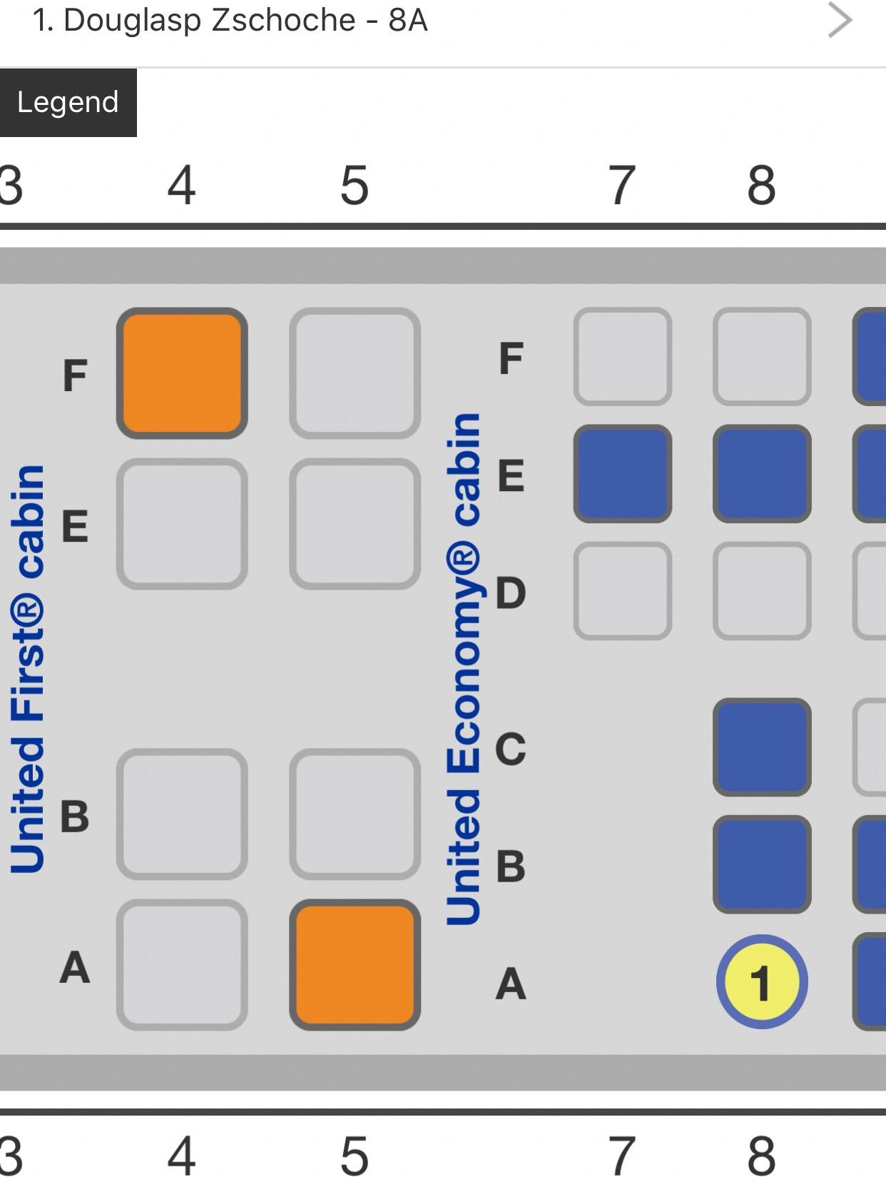 United's App makes it easy to select your seat. Seats in both United First and Economy Plus were available for purchase.