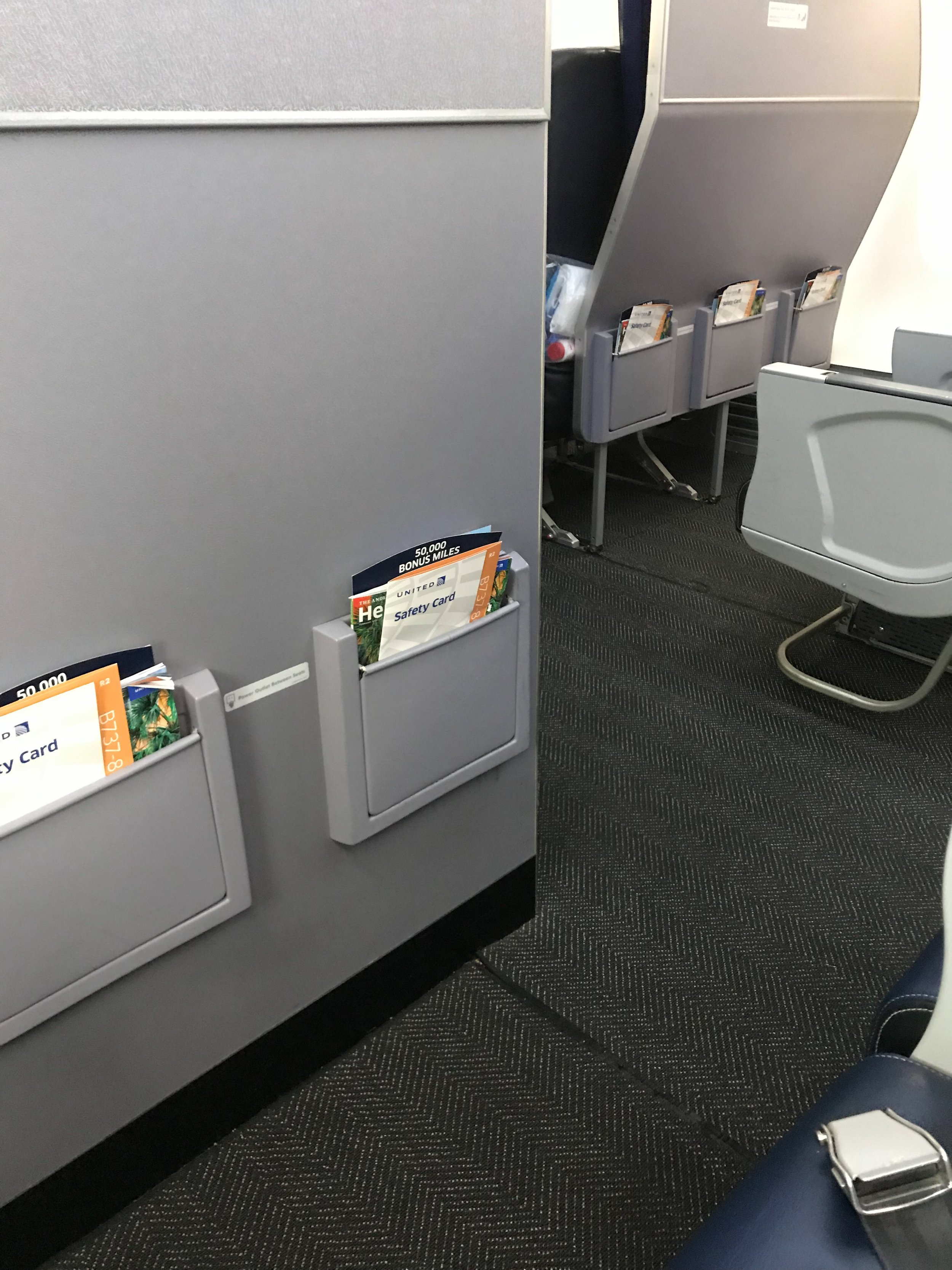 Seats in Row 8 do not have under-seat stowage.