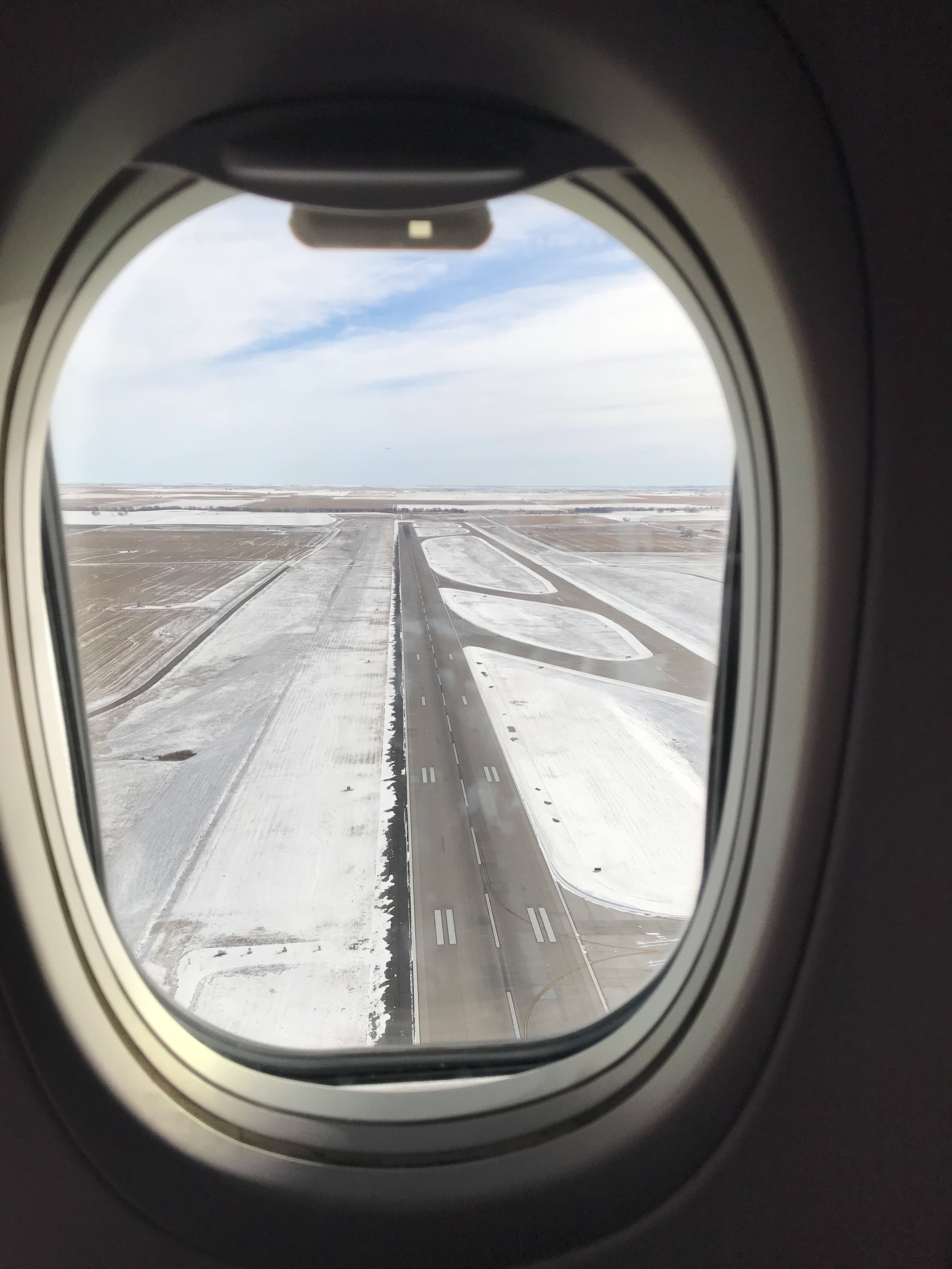 Passing over one of Denver's runways on final approach.