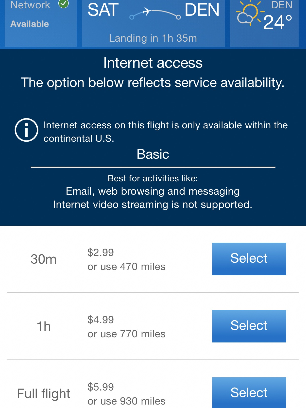 Internet connectivity was available for purchase or with miles.