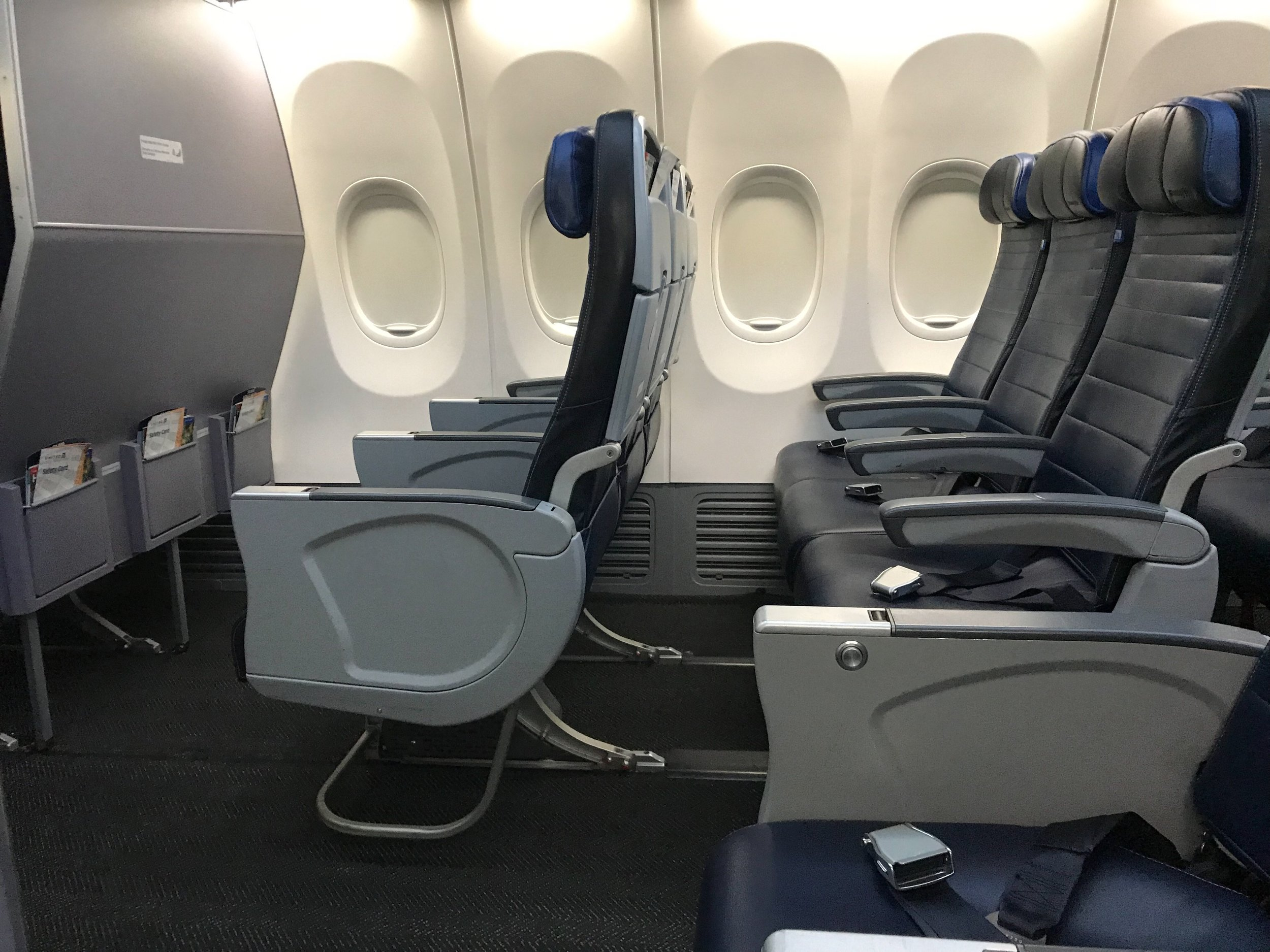 Seats in Row 7 have under-seat stowage.
